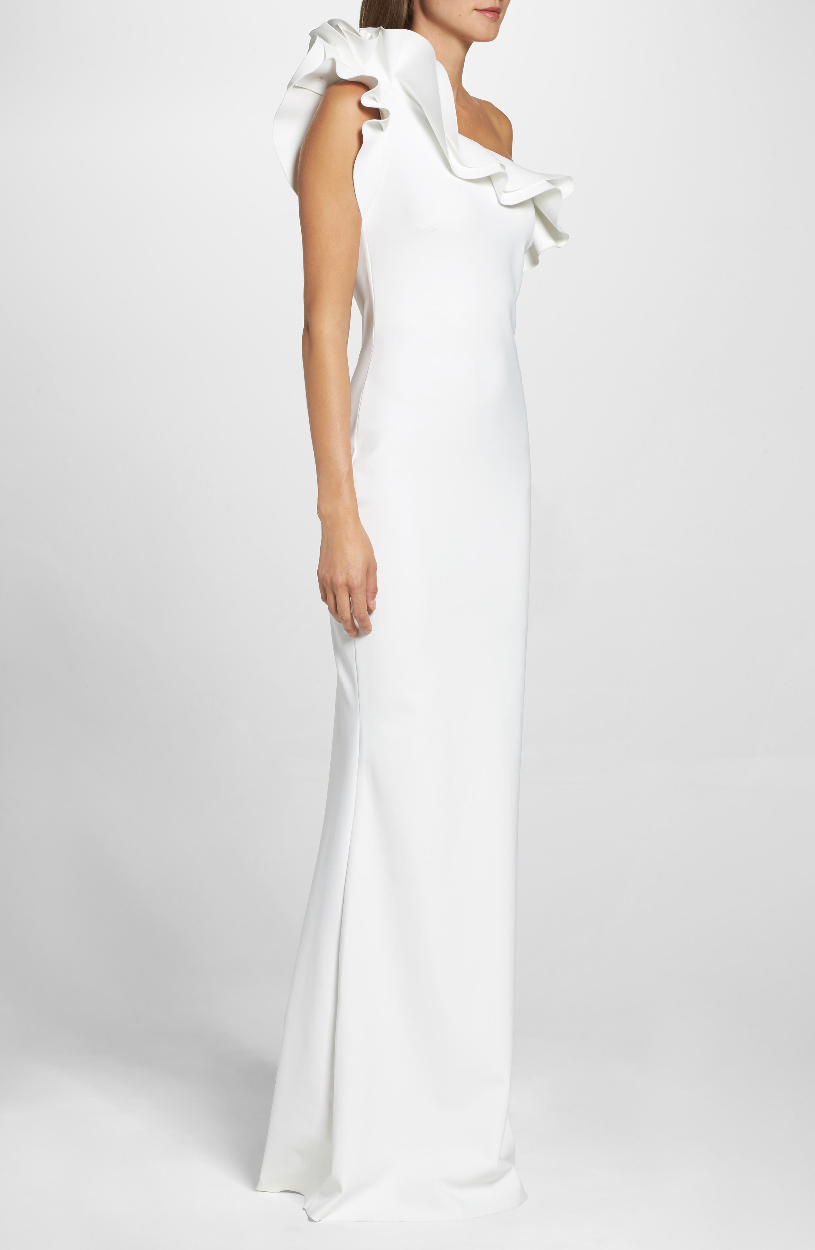 Elisir Ruffle One-Shoulder Gown,                             Alternate thumbnail 3, color,                             White