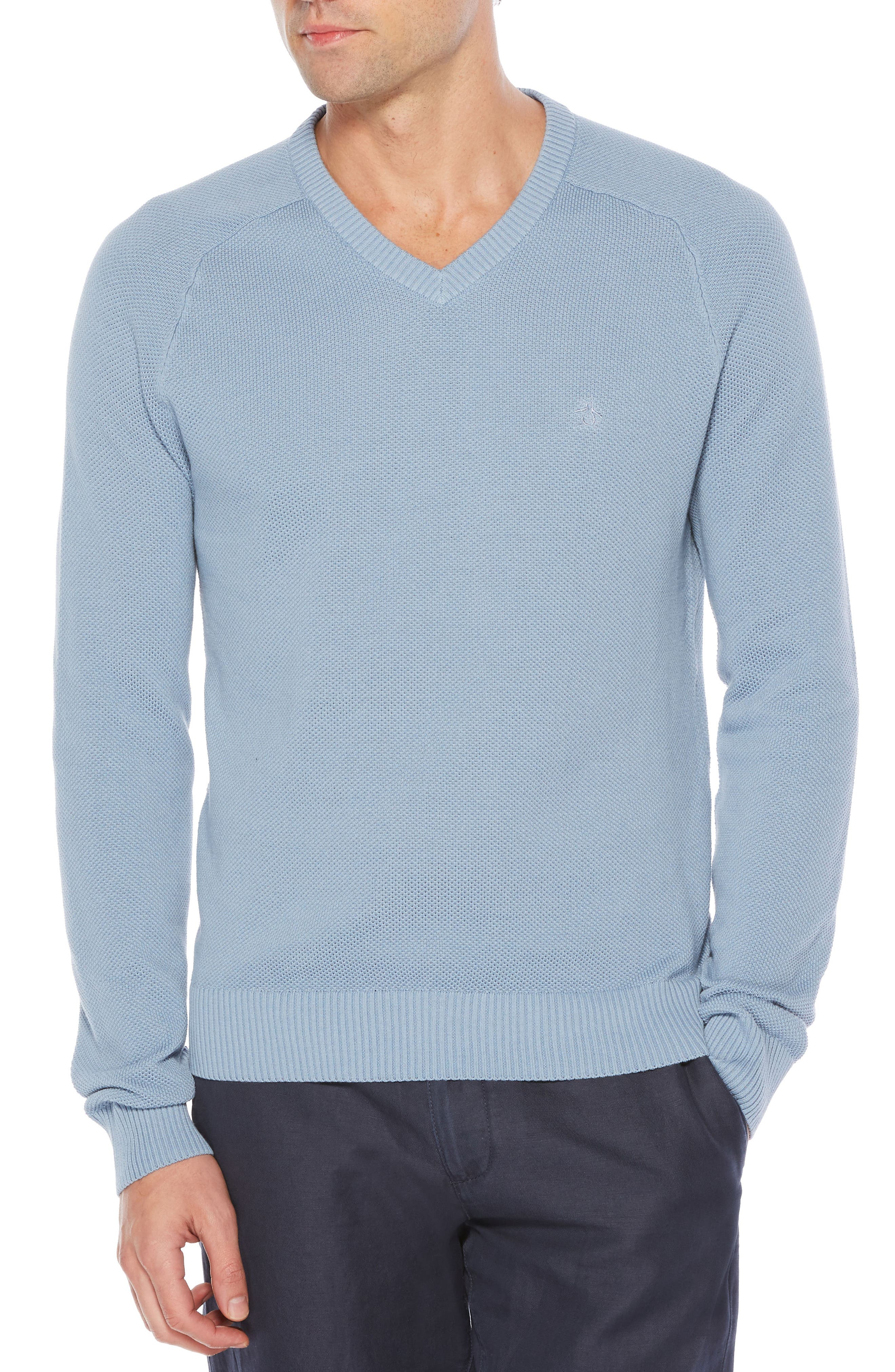 Piqué V-Neck Sweater,                             Main thumbnail 1, color,                             Steel Grey