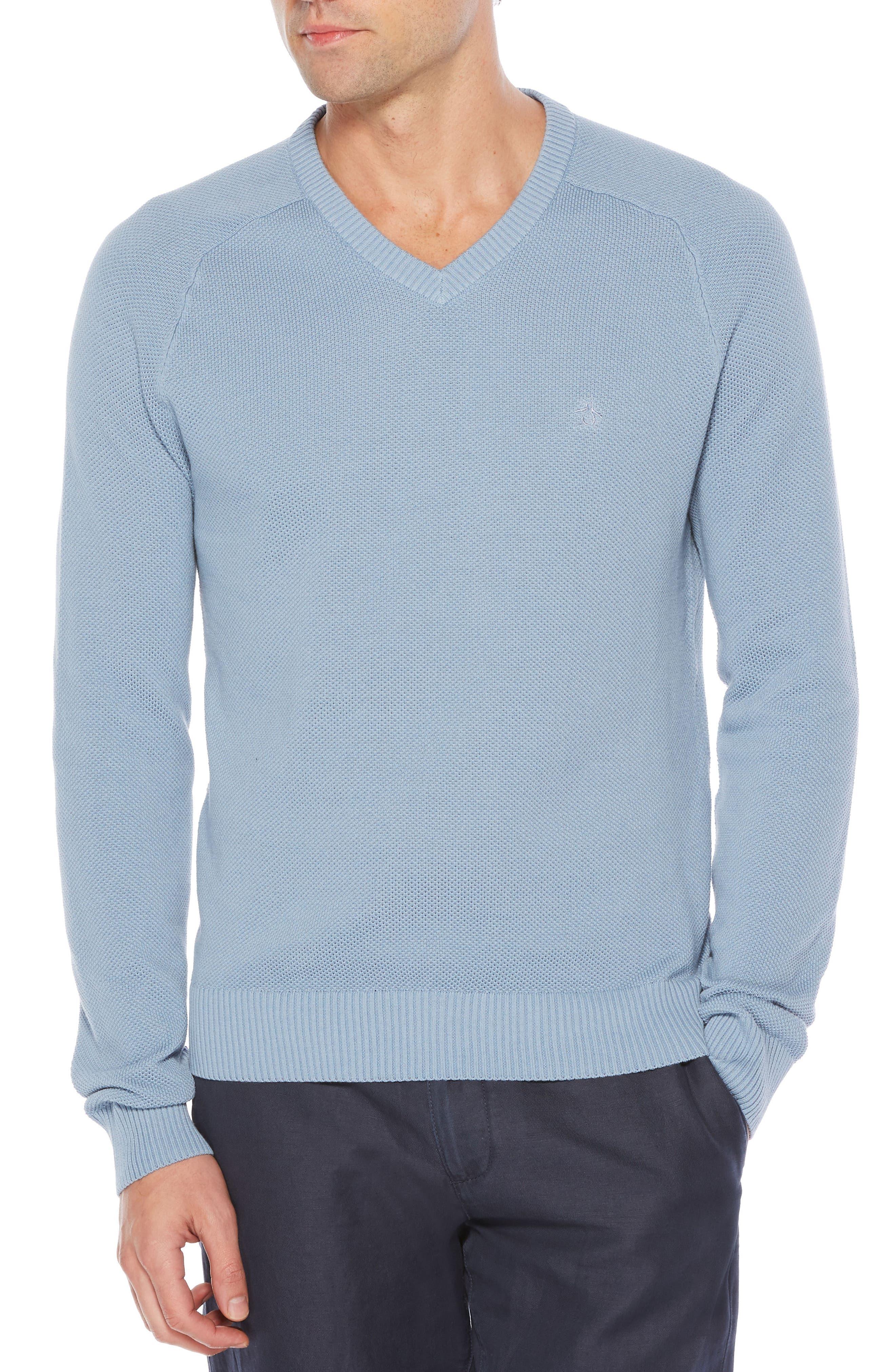 Piqué V-Neck Sweater,                         Main,                         color, Steel Grey