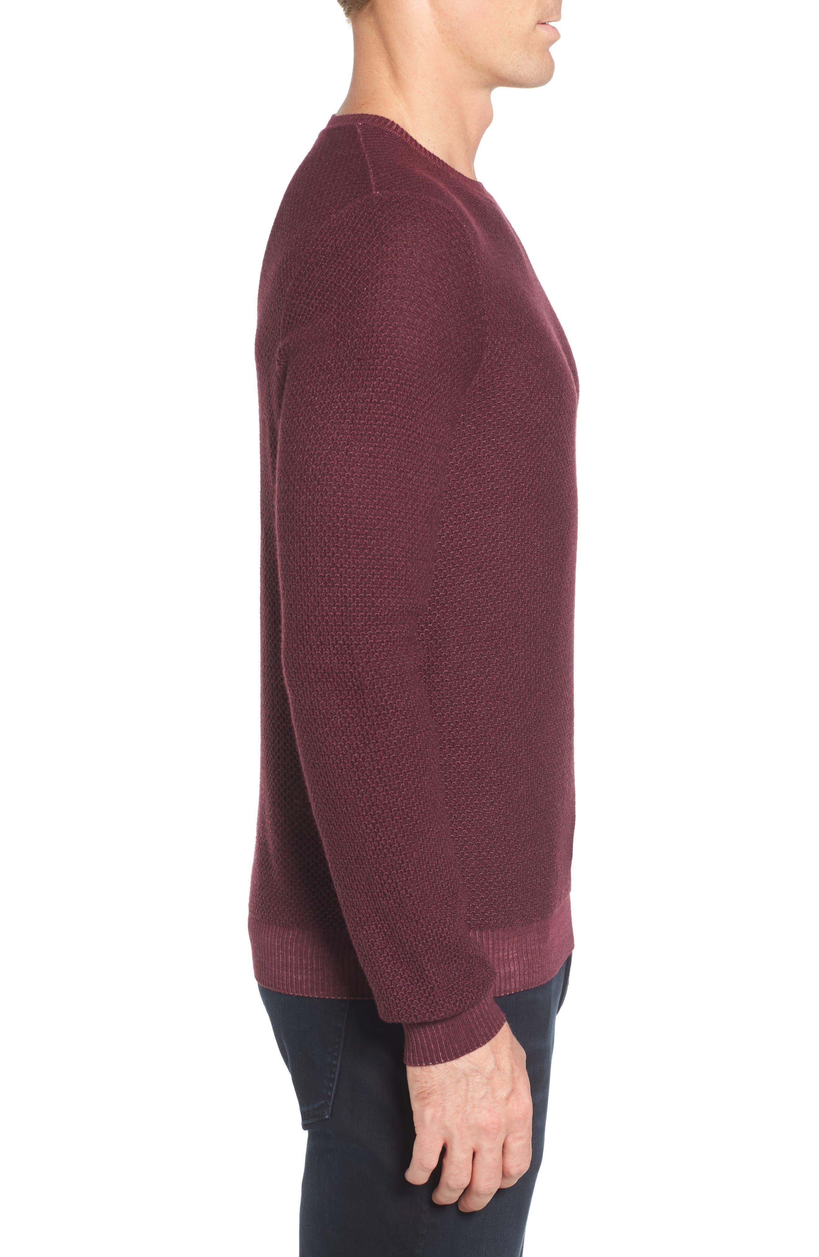 Honeycomb Merino Crewneck Sweater,                             Alternate thumbnail 3, color,                             Burgundy