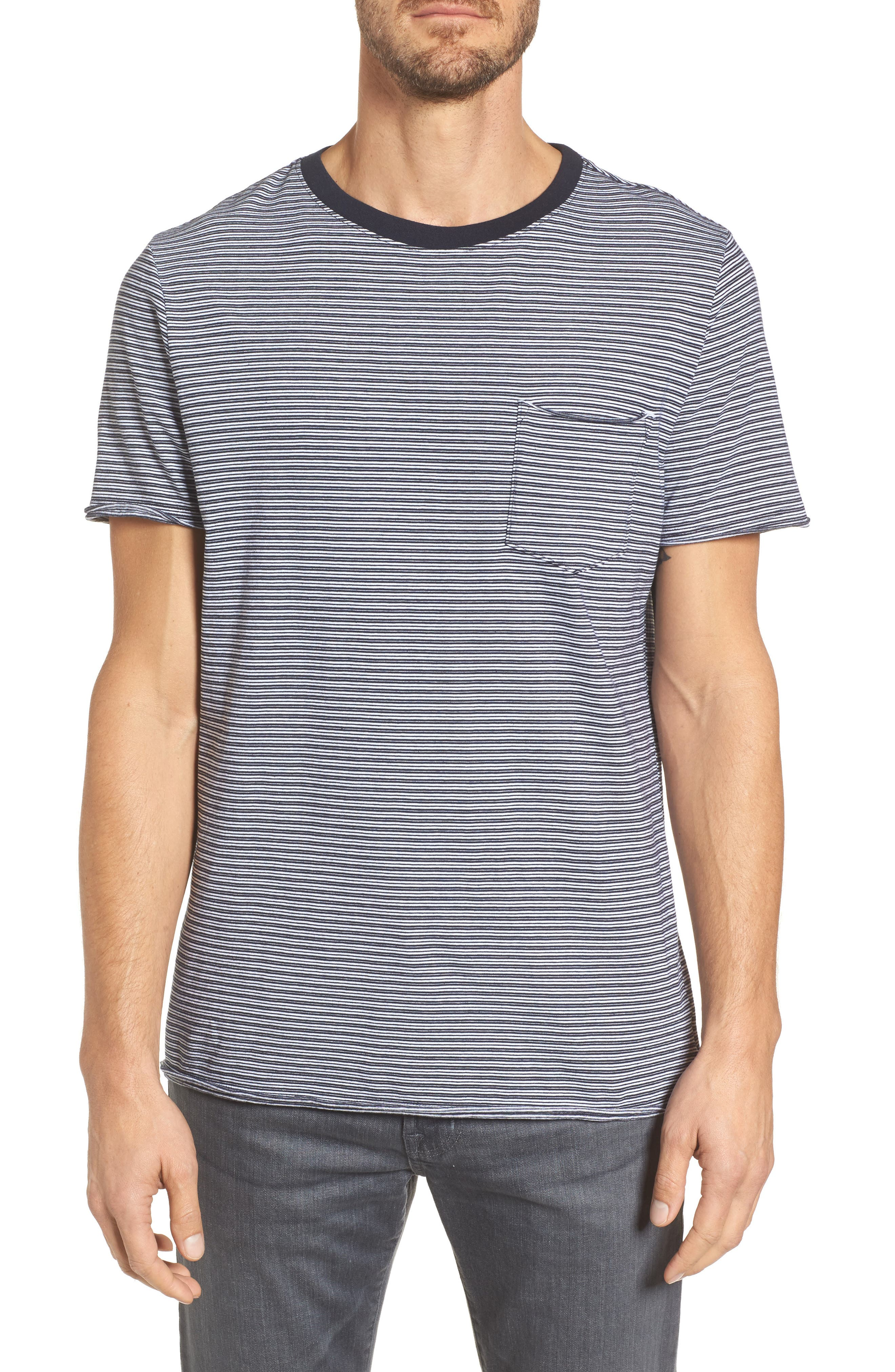 Anders Slim Pocket Crew Tee,                             Main thumbnail 1, color,                             White/ Navy