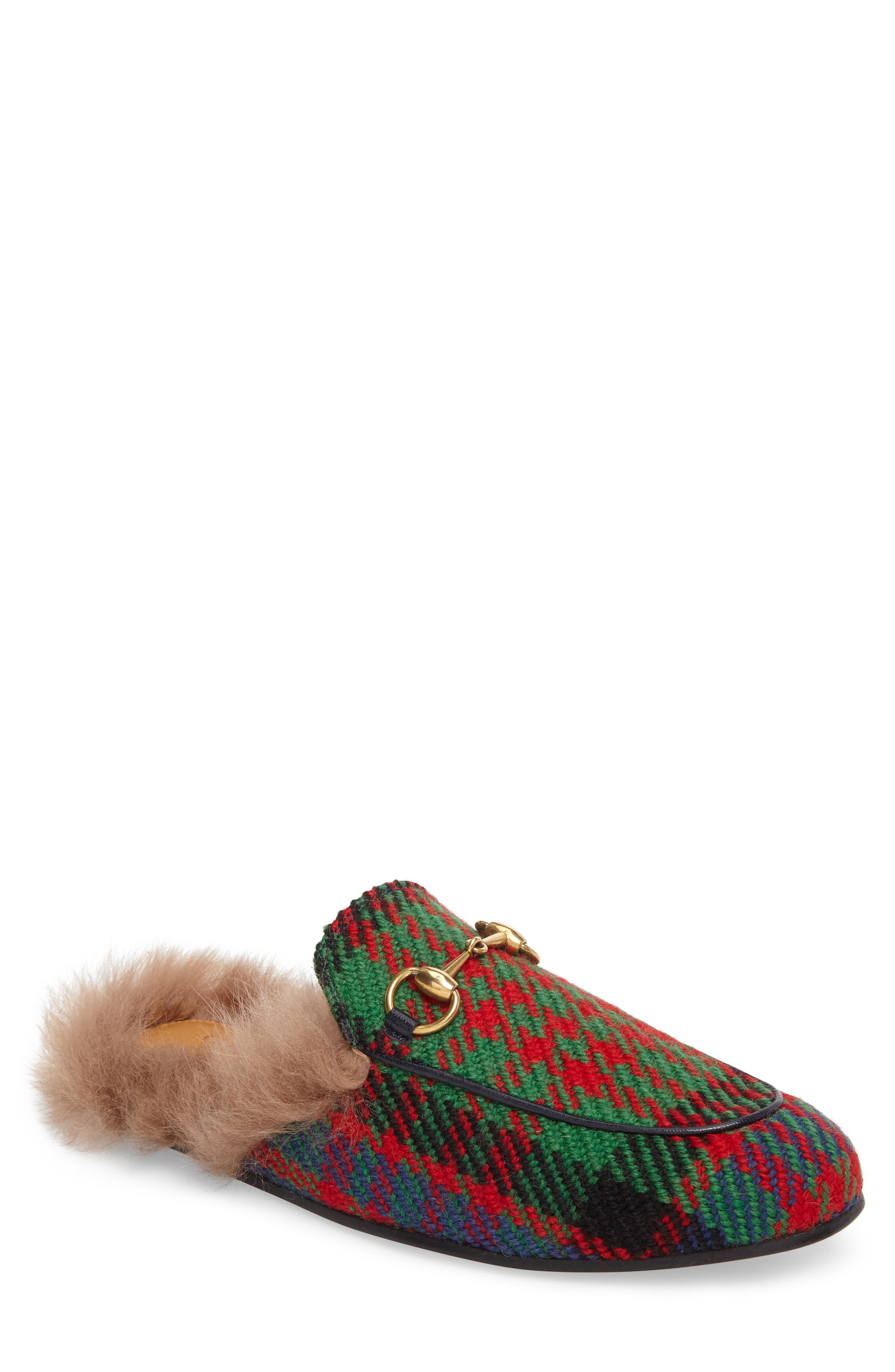 Princetown Genuine Shearling Plaid Loafer Mule,                         Main,                         color, Green/ Blue/ Red