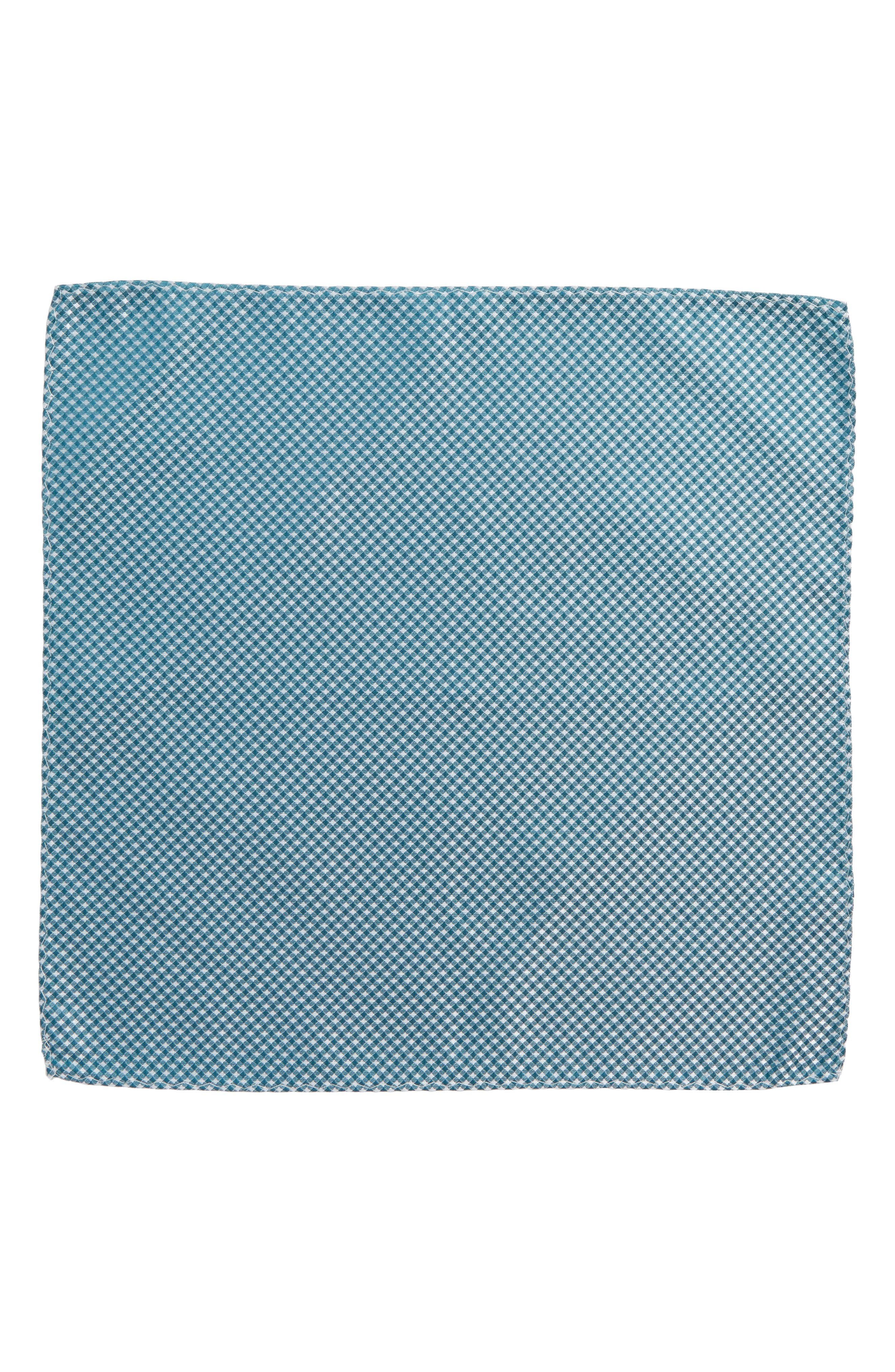 Check Silk Pocket Square,                             Alternate thumbnail 3, color,                             Teal