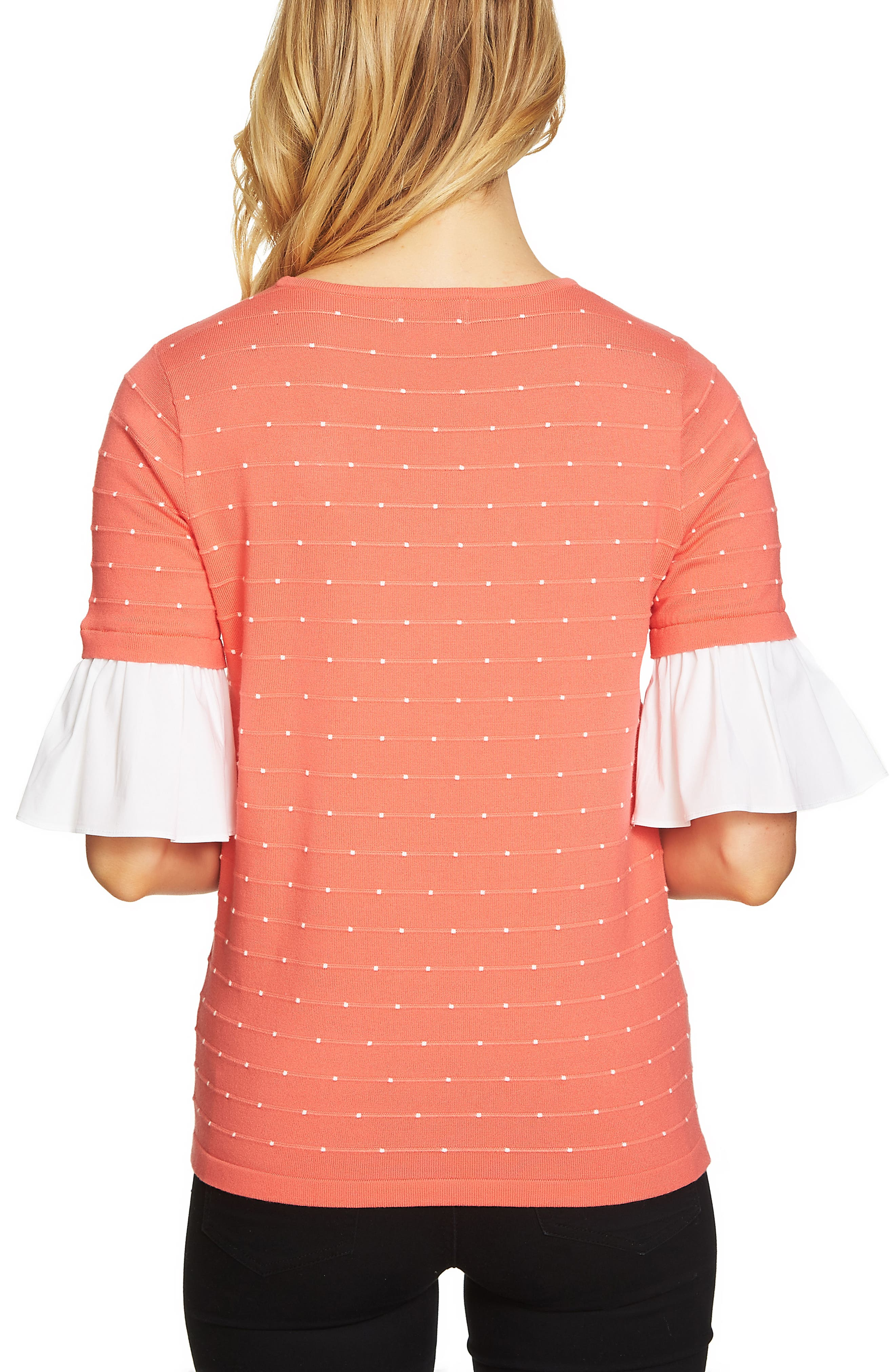 Ruffle Sleeve Jacquard Sweater,                             Alternate thumbnail 2, color,                             Coral Jewel