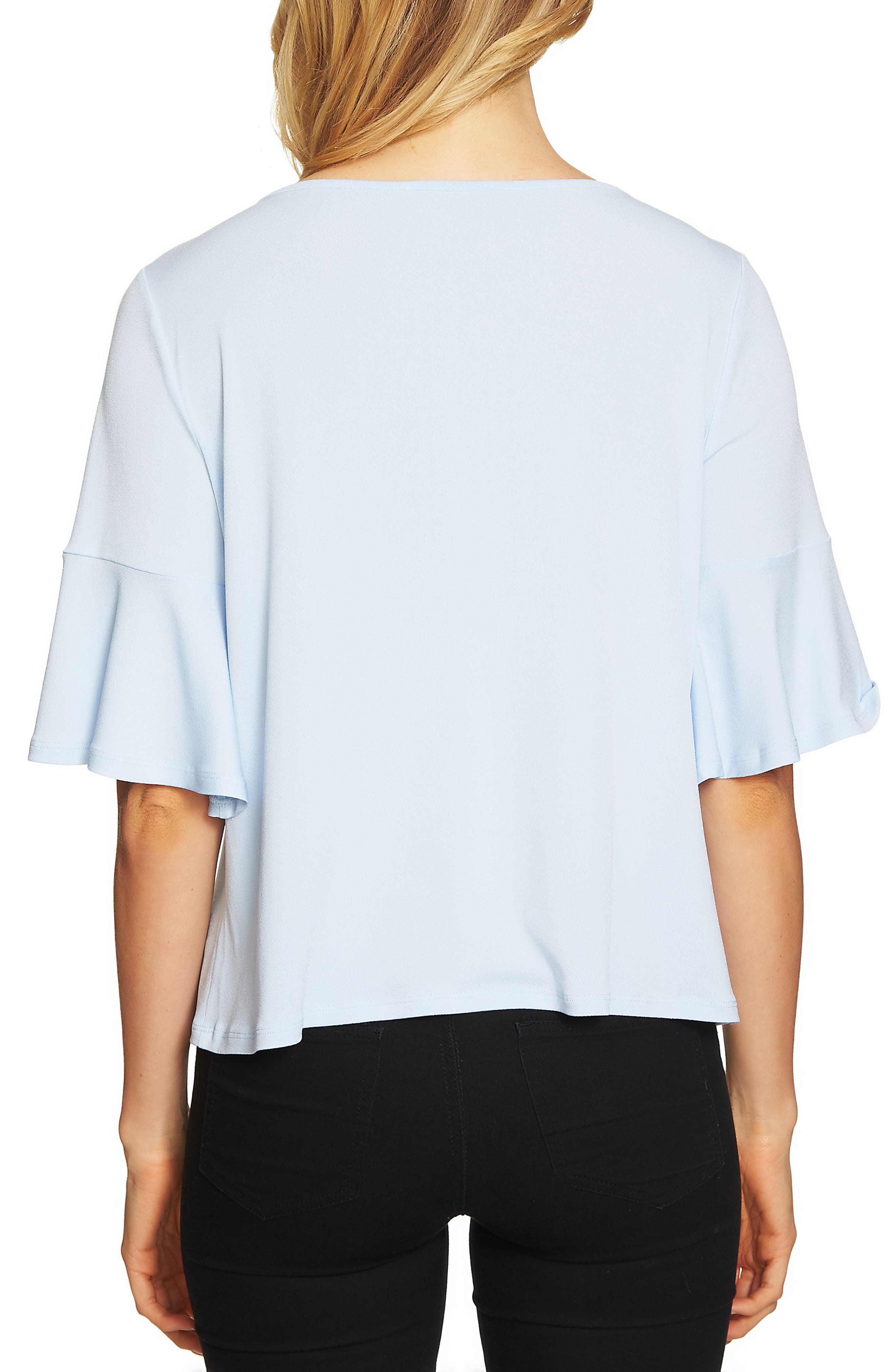 Alternate Image 2  - CeCe Ruffle Sleeve Crepe Knit Top
