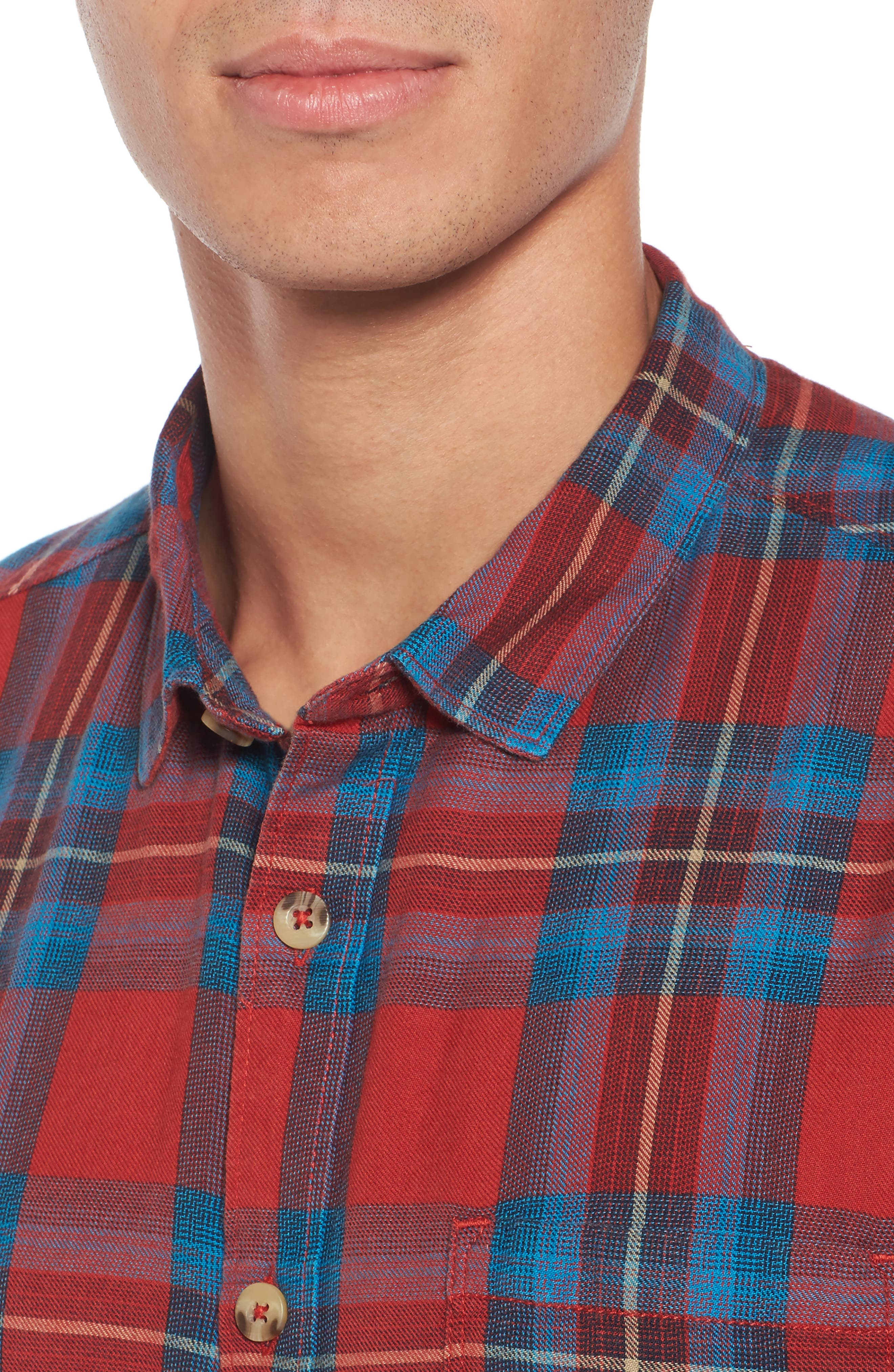 Freemont Flannel Shirt,                             Alternate thumbnail 4, color,                             Red