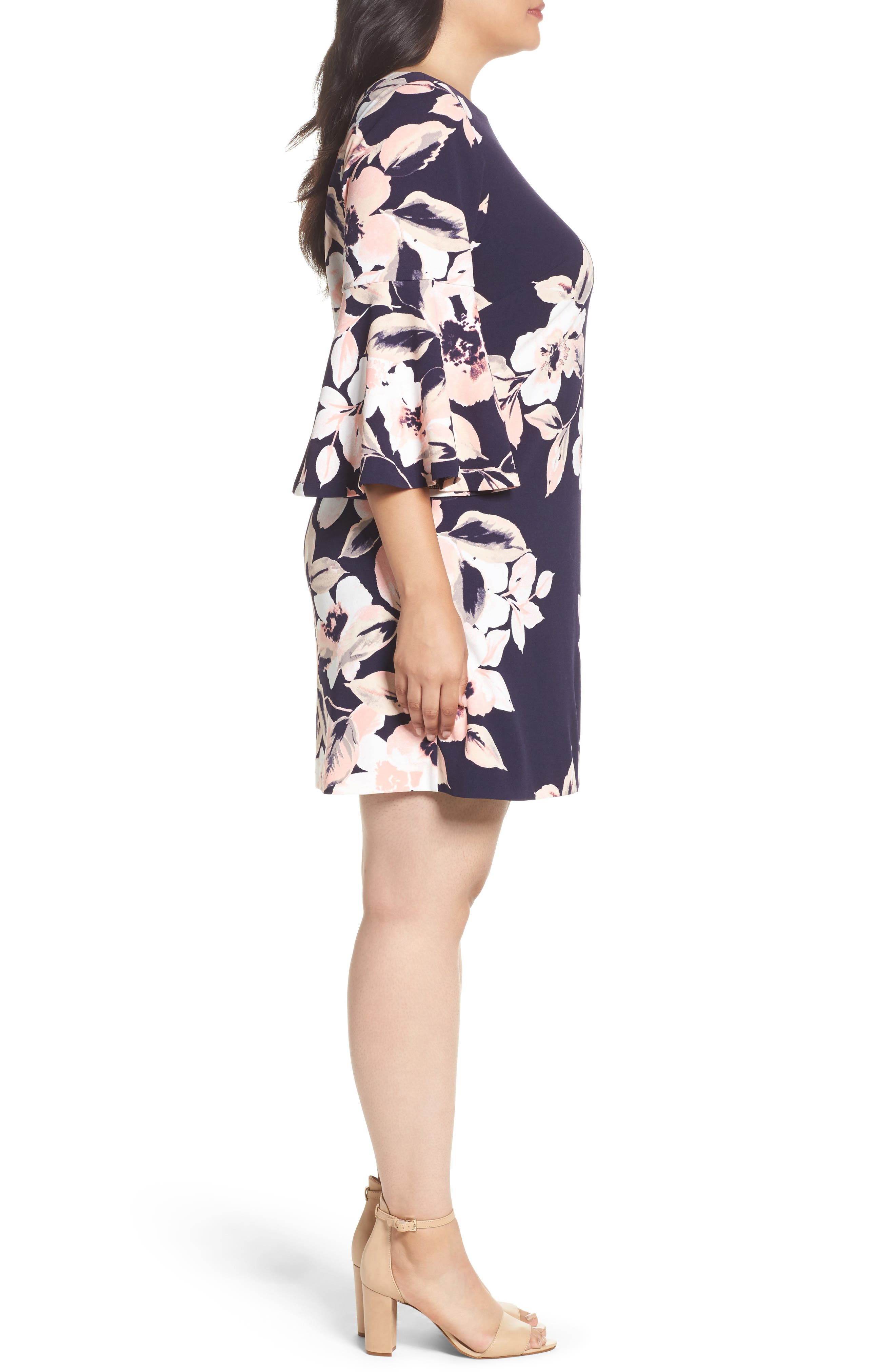 Bell Cuff Floral Shift Dress,                             Alternate thumbnail 4, color,                             Navy
