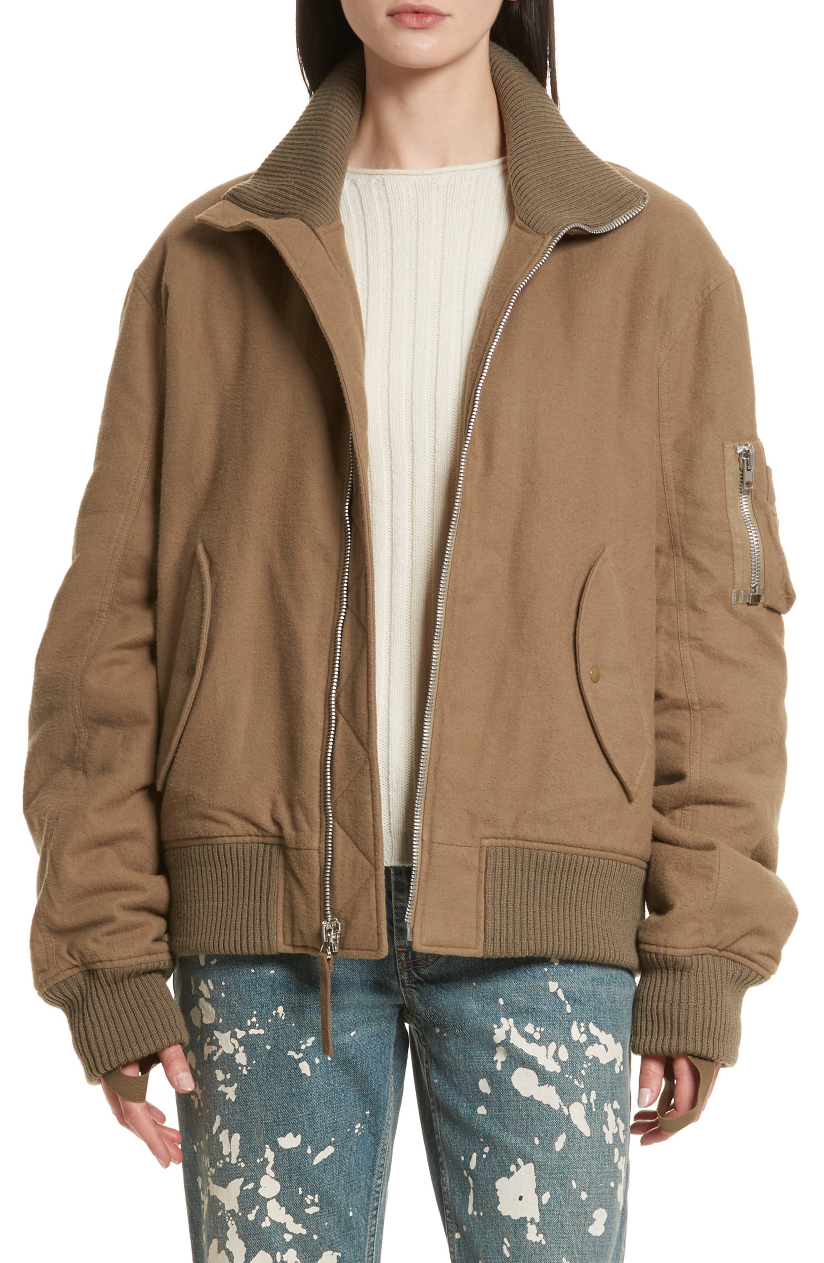 Re-Edition High Collar Bomber Jacket,                         Main,                         color, Army Green