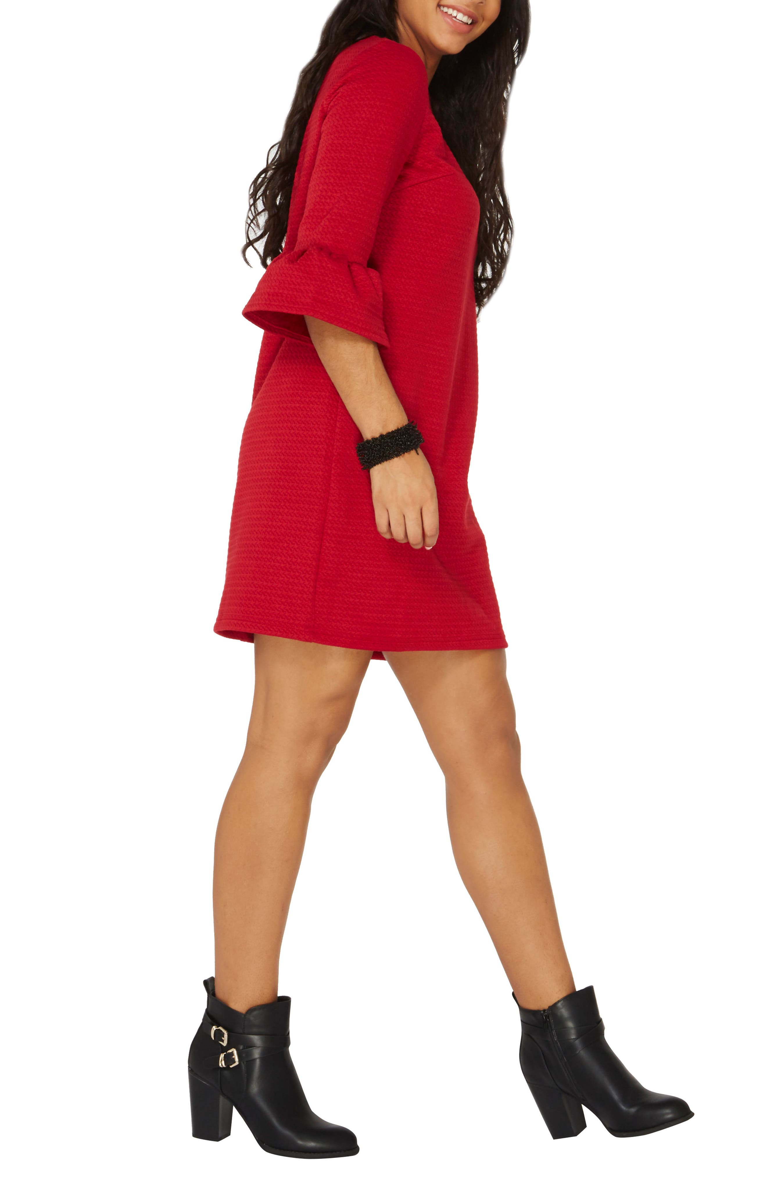 Ruffle Sleeve Shift Dress,                             Alternate thumbnail 3, color,                             Red