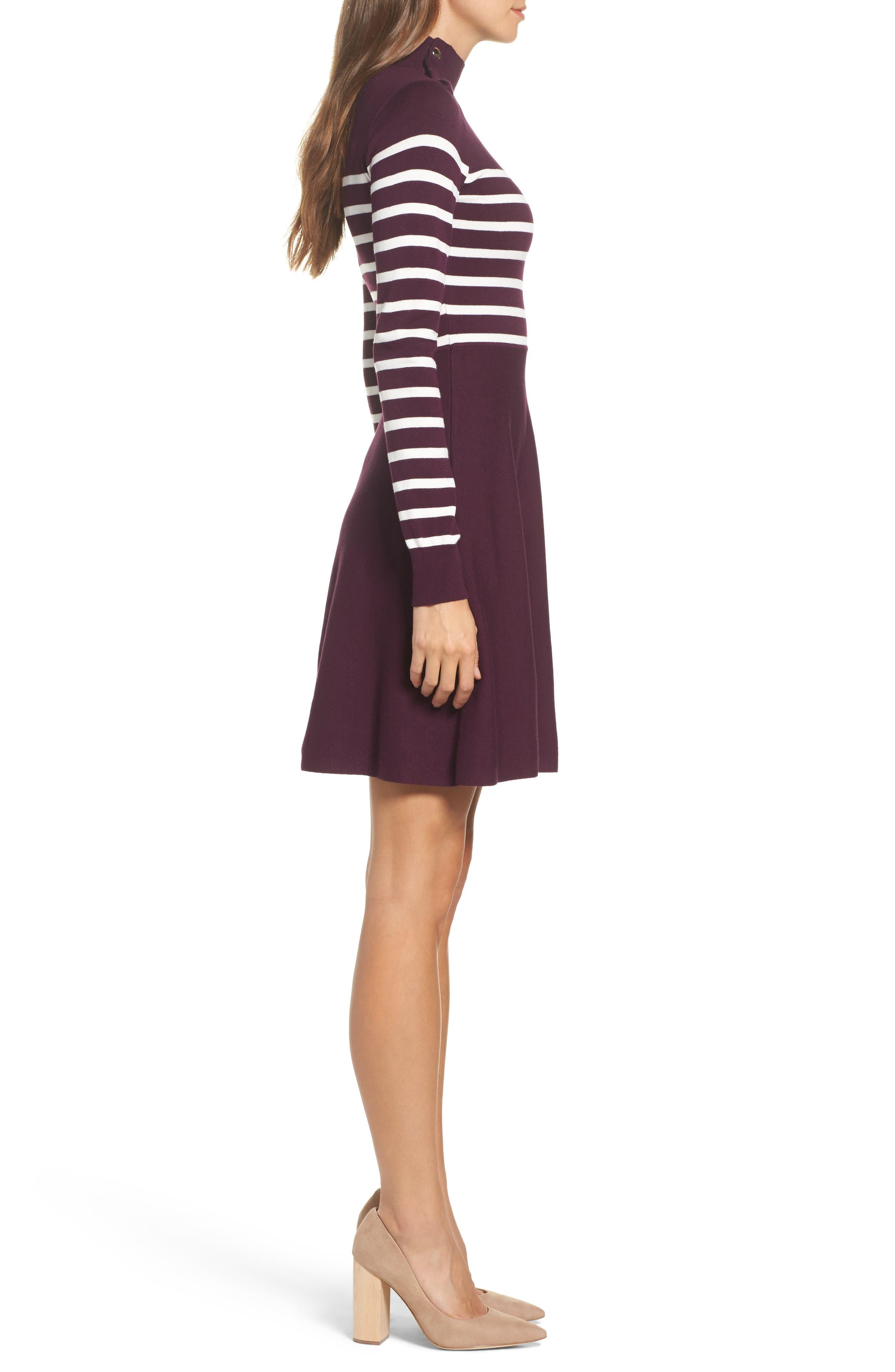 Stripe Mock Neck Fit & Flare Dress,                             Alternate thumbnail 3, color,                             Wine