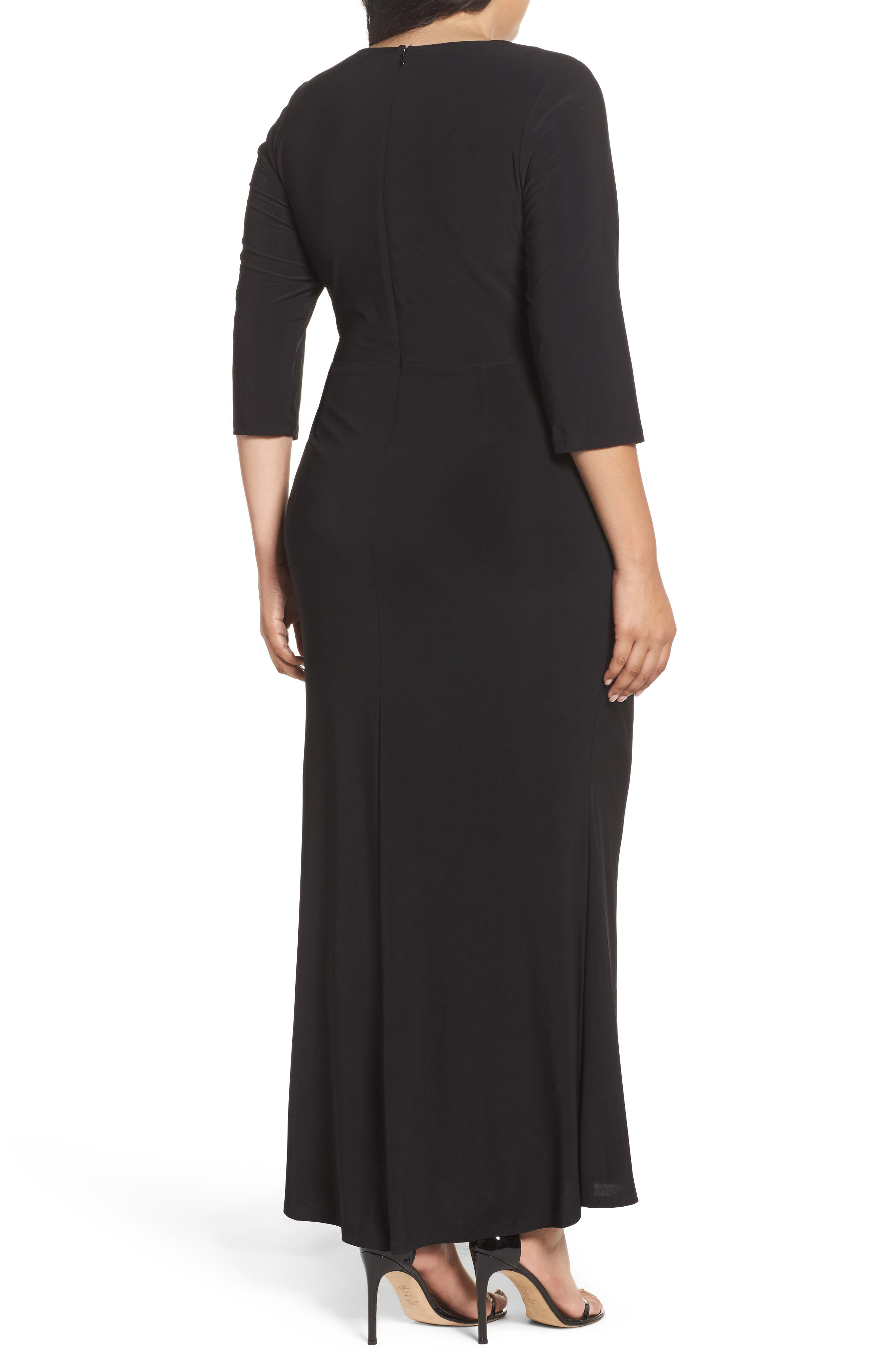 Embellished A-Line Jersey Gown,                             Alternate thumbnail 2, color,                             Black