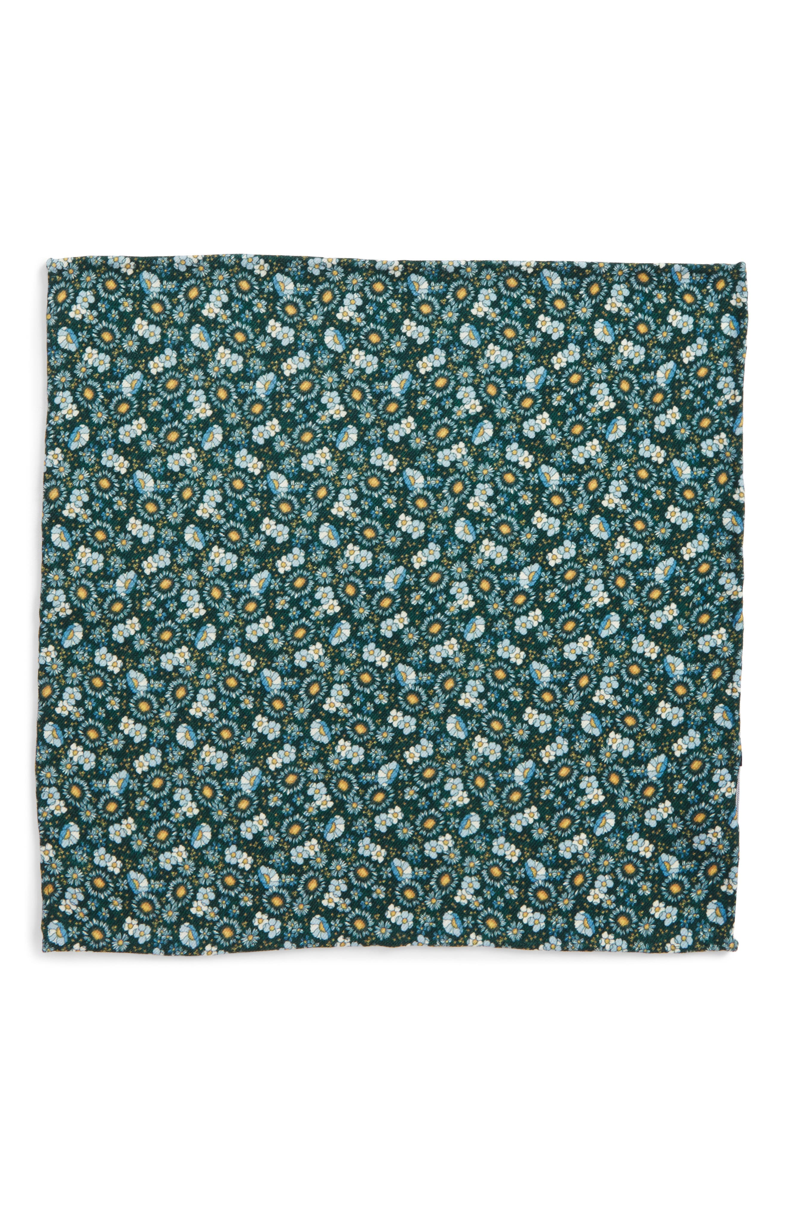 Flower City Wool Pocket Square,                             Alternate thumbnail 3, color,                             Hunter