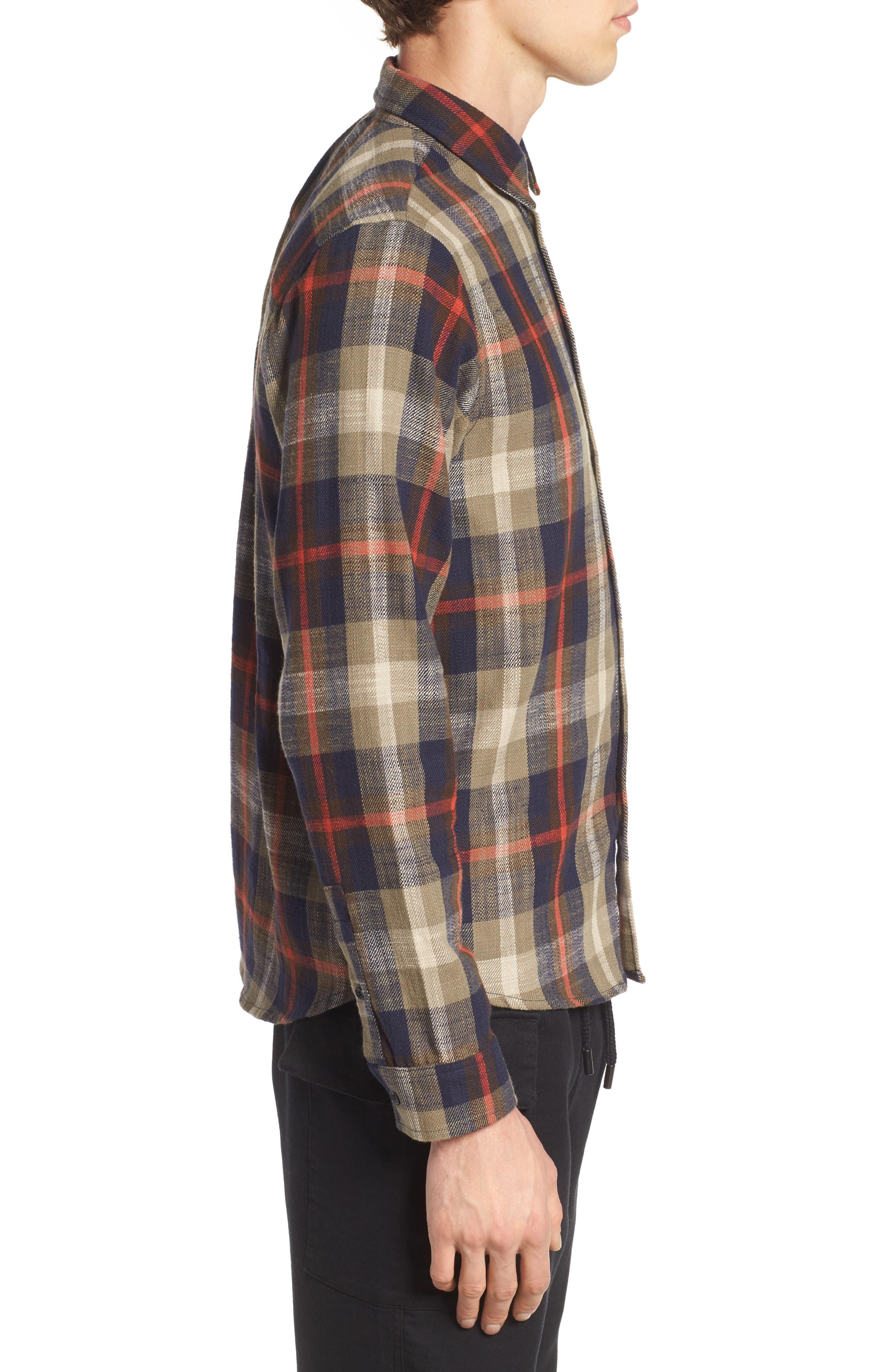 Brae Plaid Flannel Shirt,                             Alternate thumbnail 3, color,                             Green Check