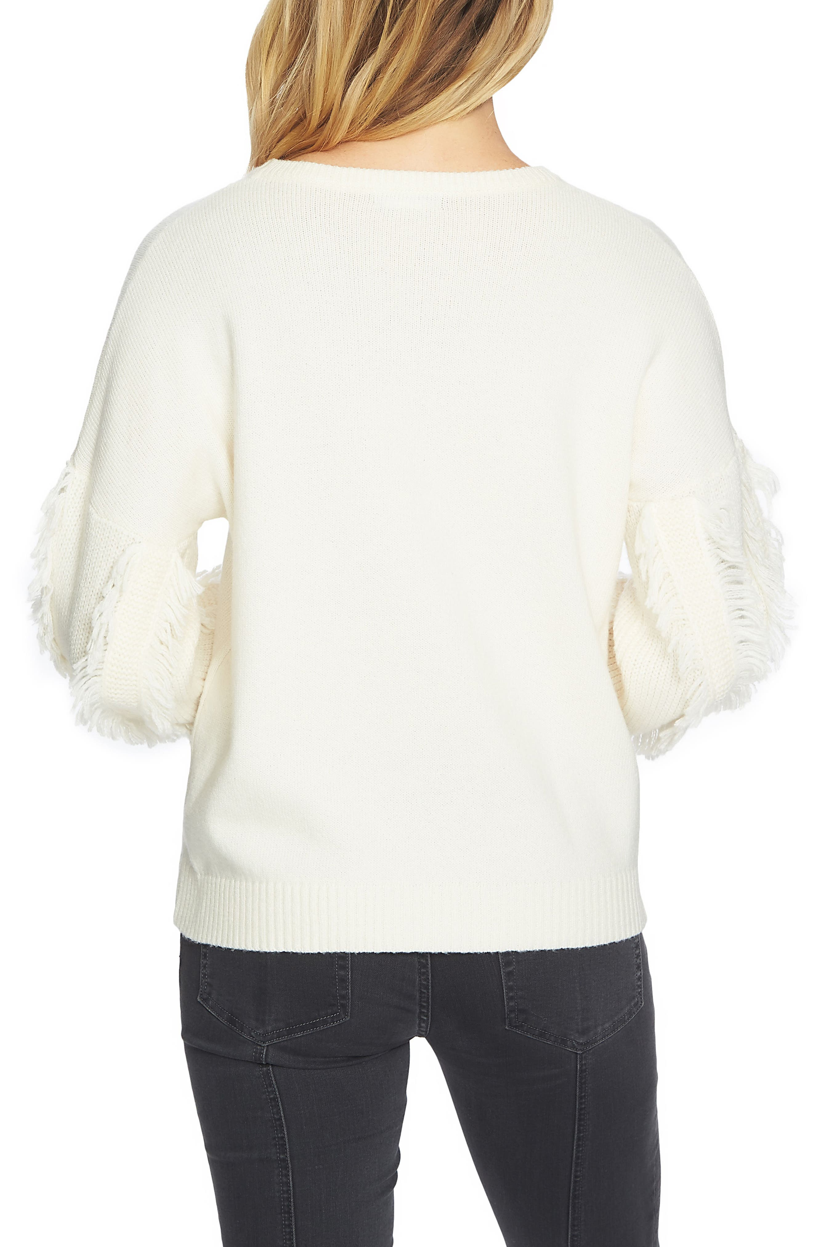 Fringe Sleeve Sweater,                             Alternate thumbnail 2, color,                             108-Antiq. White