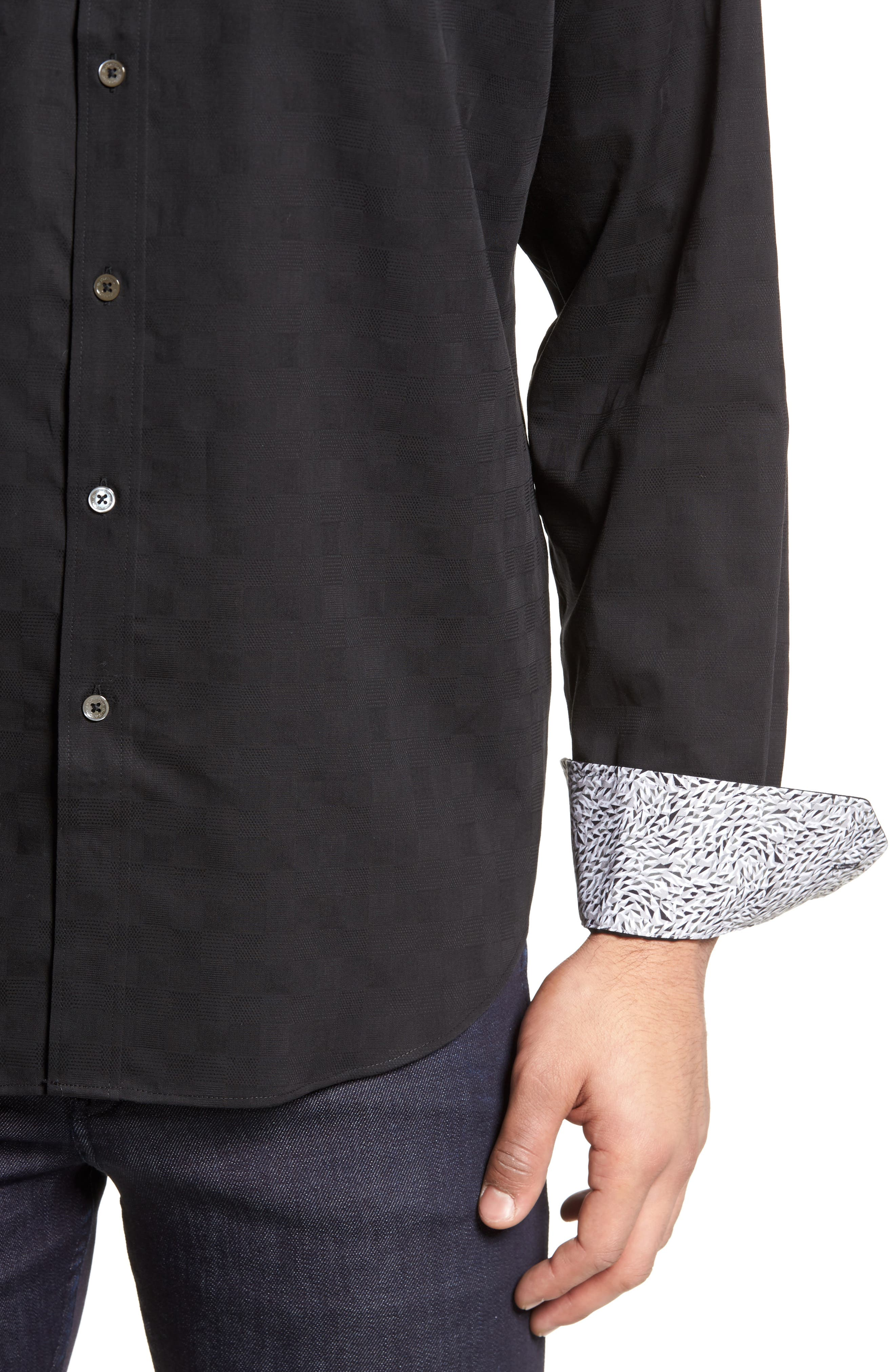 Classic Fit Check Jacquard Sport Shirt,                             Alternate thumbnail 4, color,                             Black