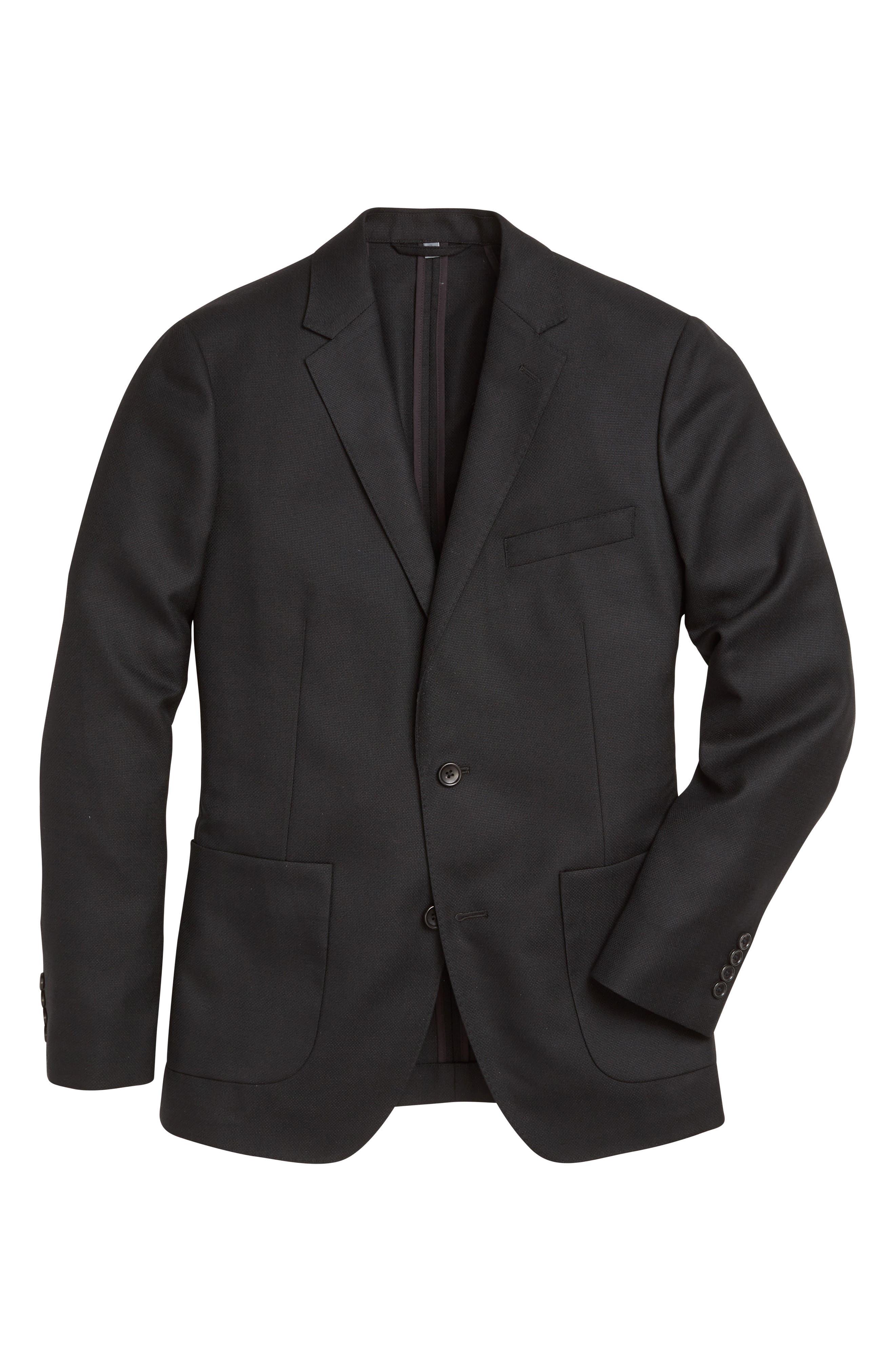 Wool Unconstructed Sport Coat,                             Alternate thumbnail 6, color,                             Black