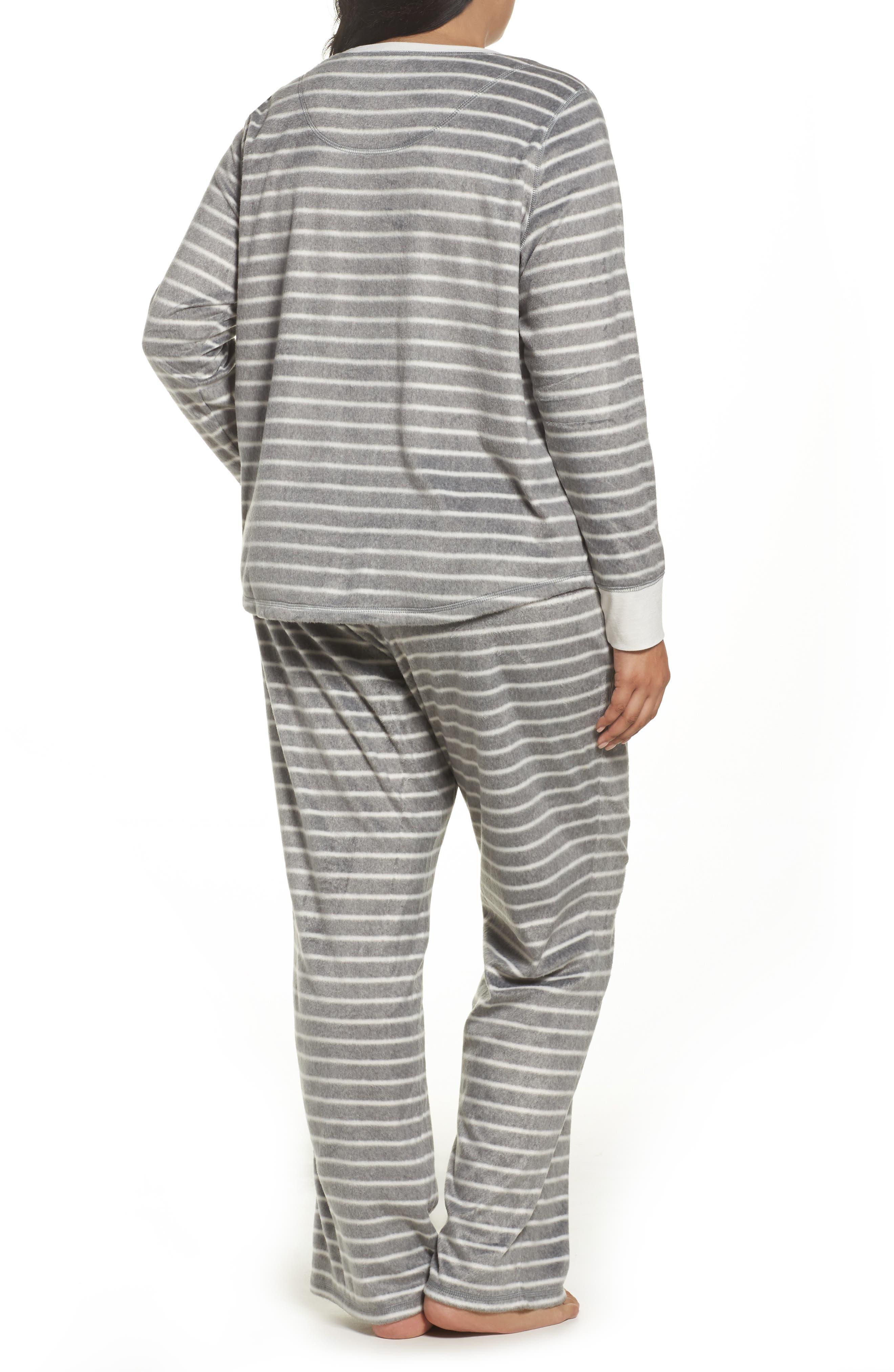 Polar Fleece Pajamas,                             Alternate thumbnail 2, color,                             Heather Grey