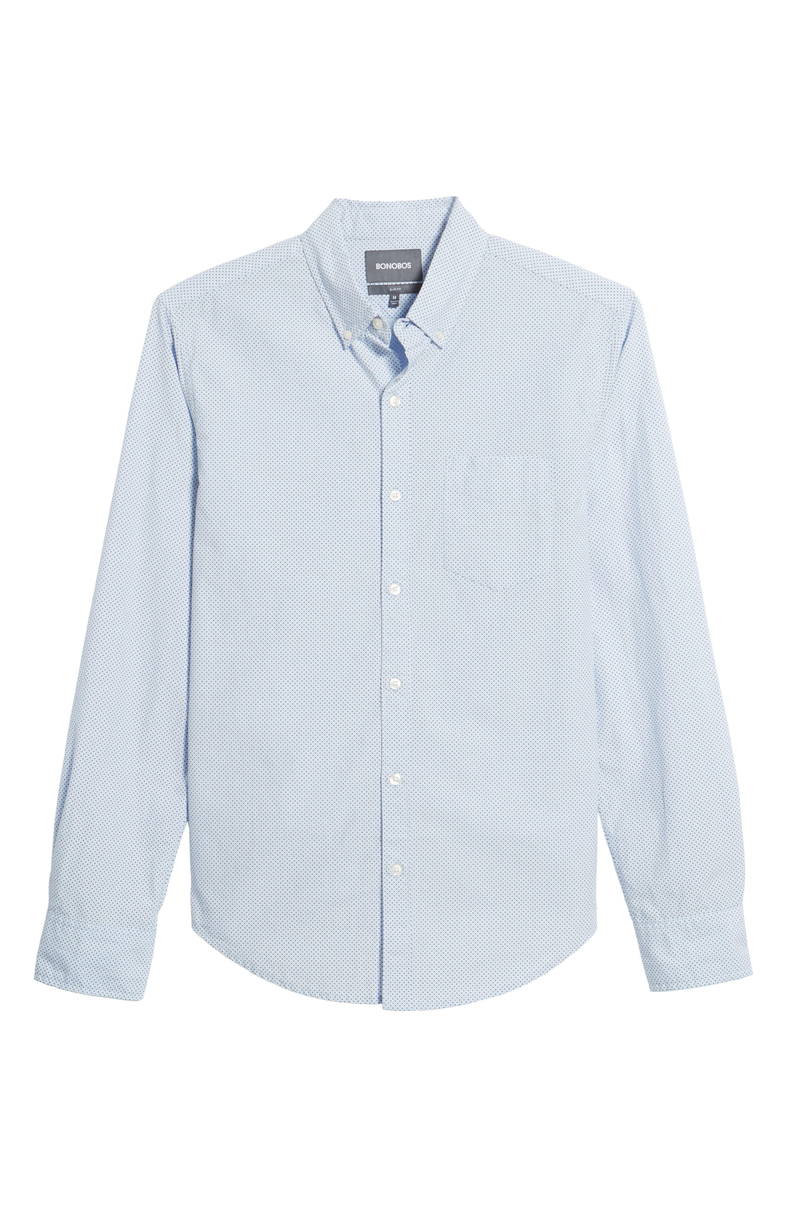 Slim Fit Dot Print Sport Shirt,                             Alternate thumbnail 6, color,                             Cannes Blue Fine Dots