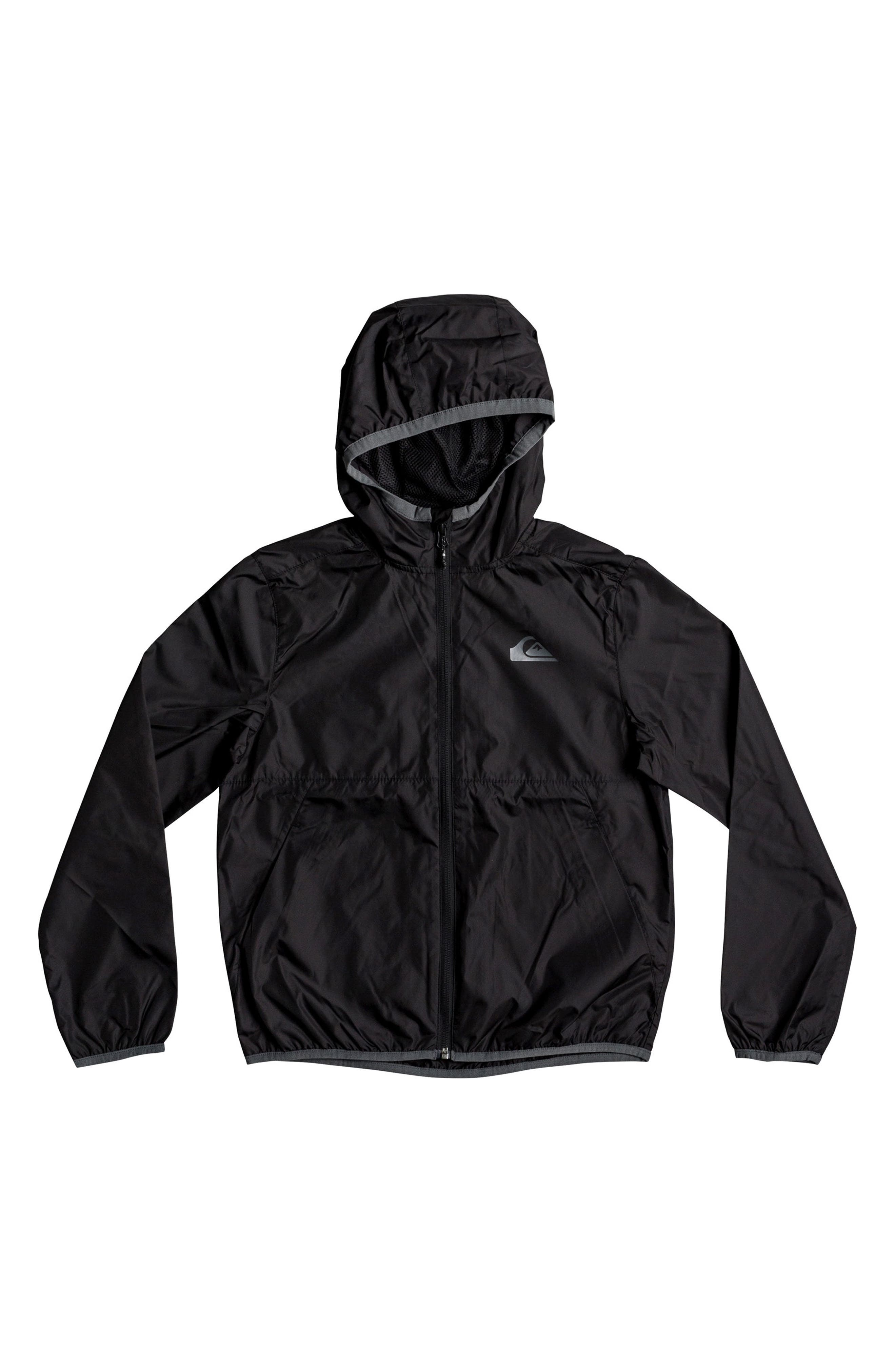 Contrasted Water Resistant Hooded Windbreaker,                         Main,                         color, Black