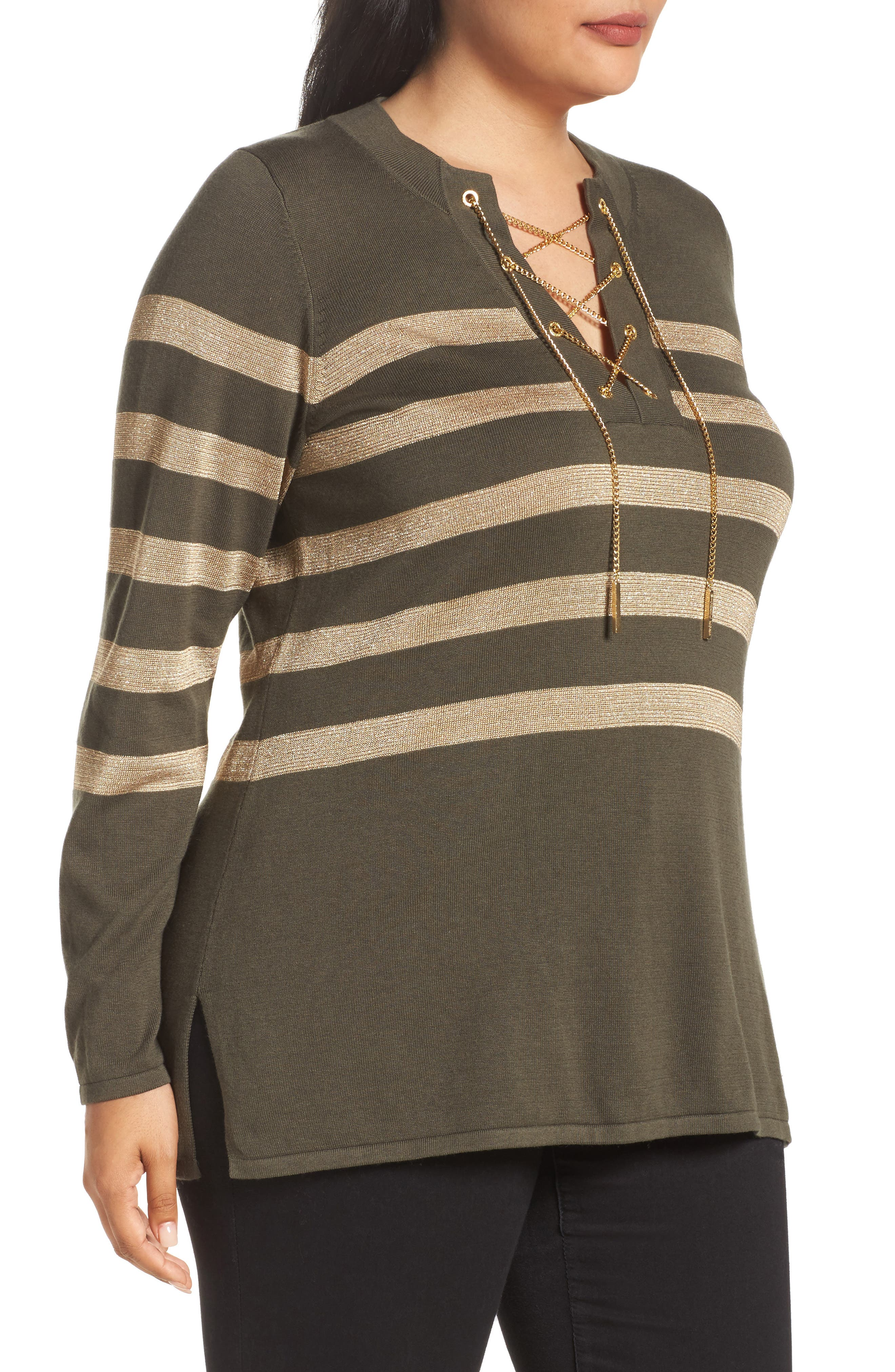 Chain Lace-Up Stripe Sweater,                             Alternate thumbnail 3, color,                             Green