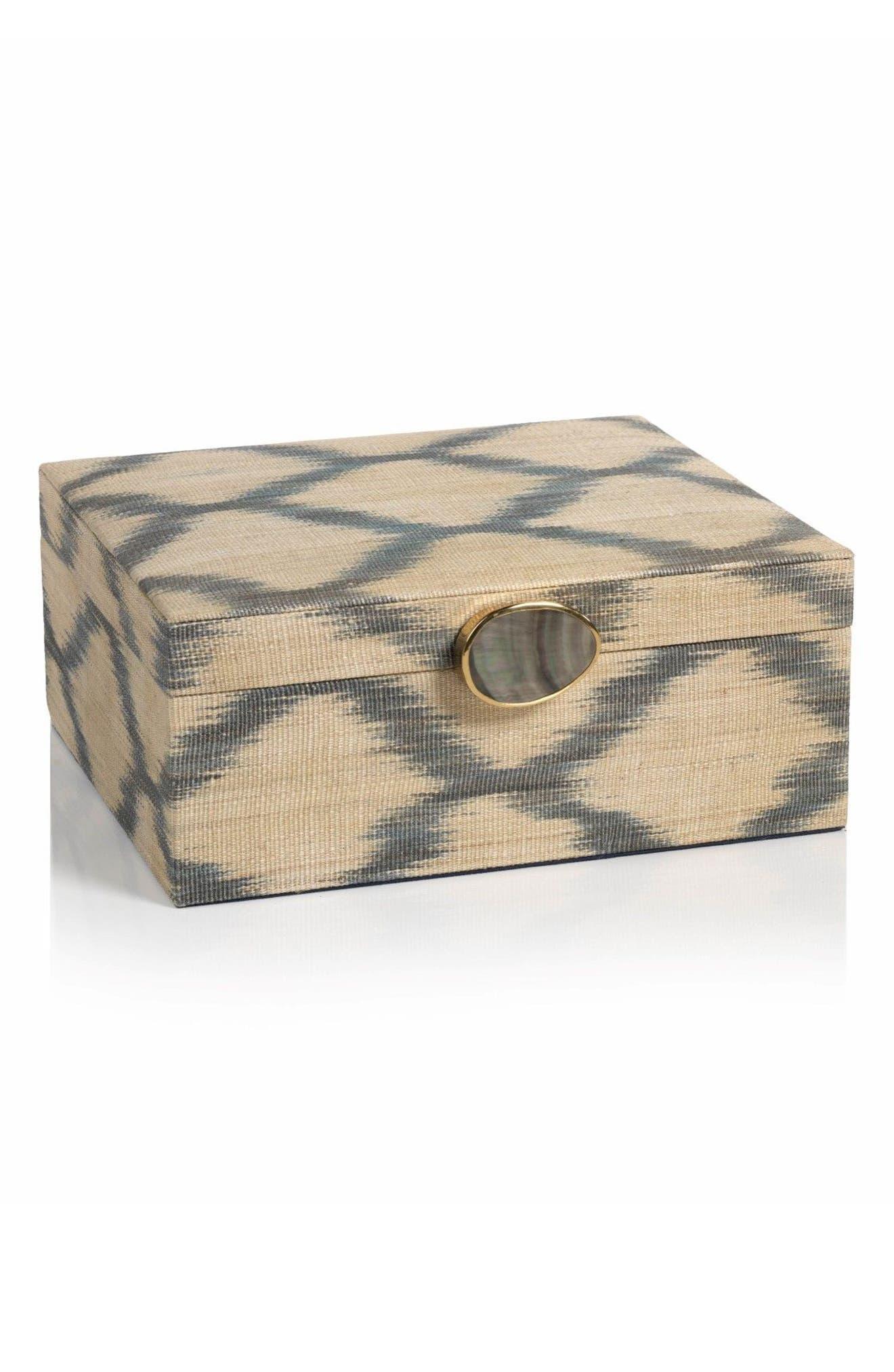Large Ikat Storage Box,                         Main,                         color, Beige/ Gray