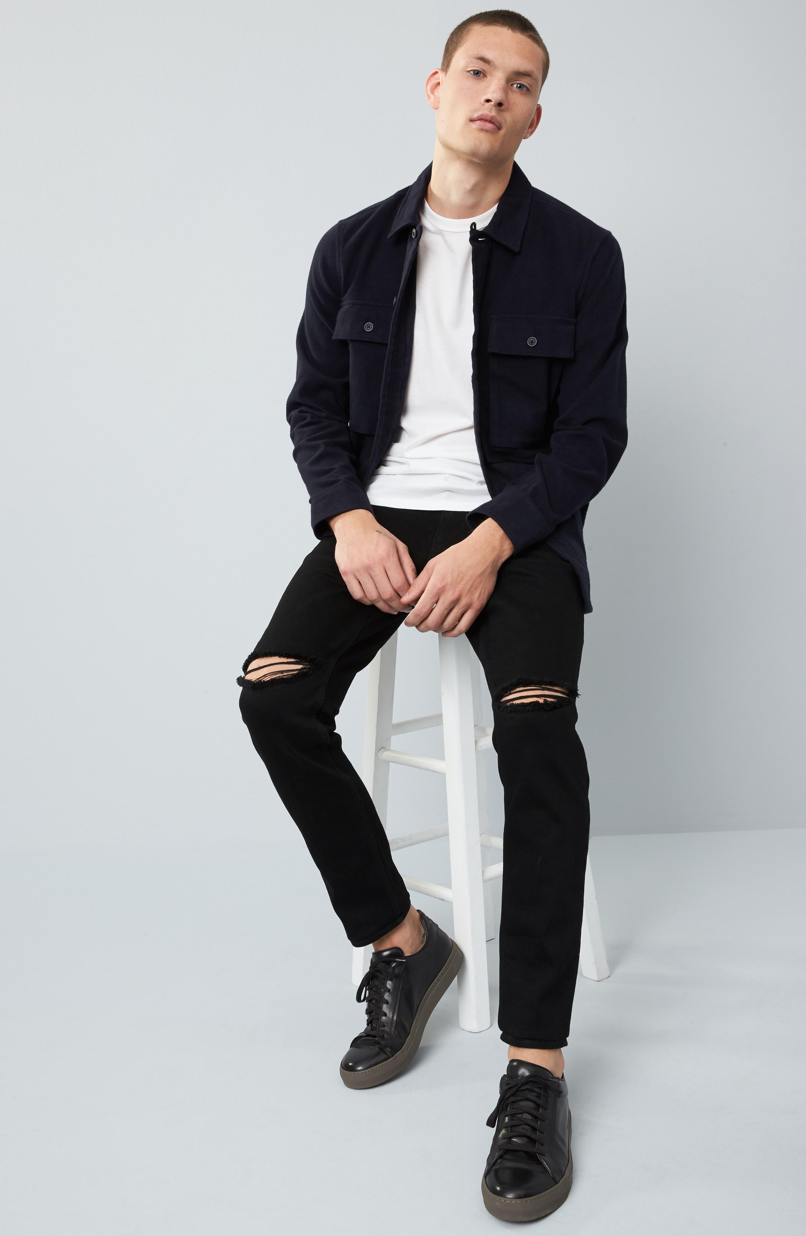 Slim Fit Destroyed Jeans,                             Alternate thumbnail 6, color,                             Black Rock