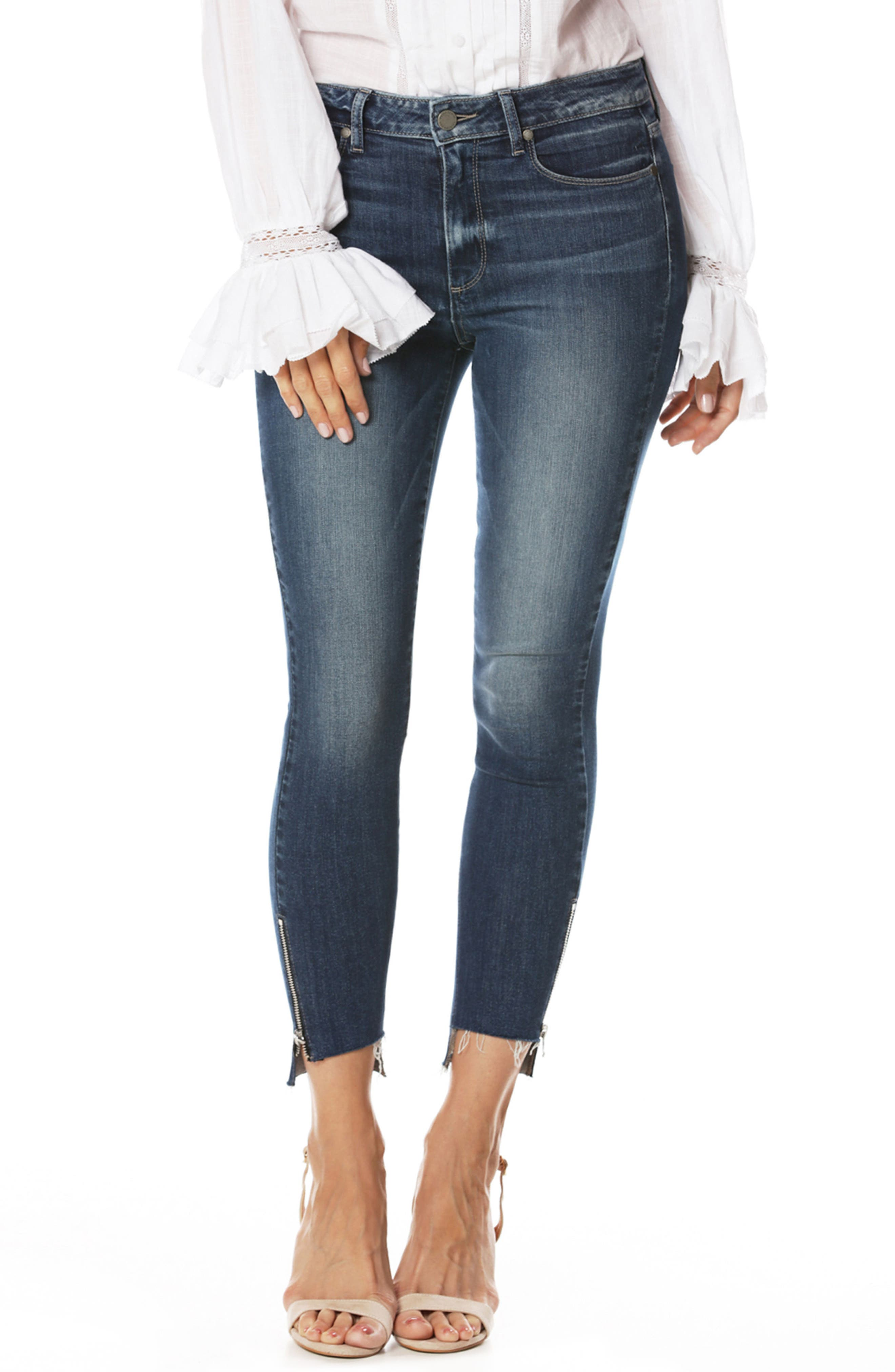 Transcend Vintage - Hoxton High Waist Ankle Straight Leg Jeans,                         Main,                         color, Malibu
