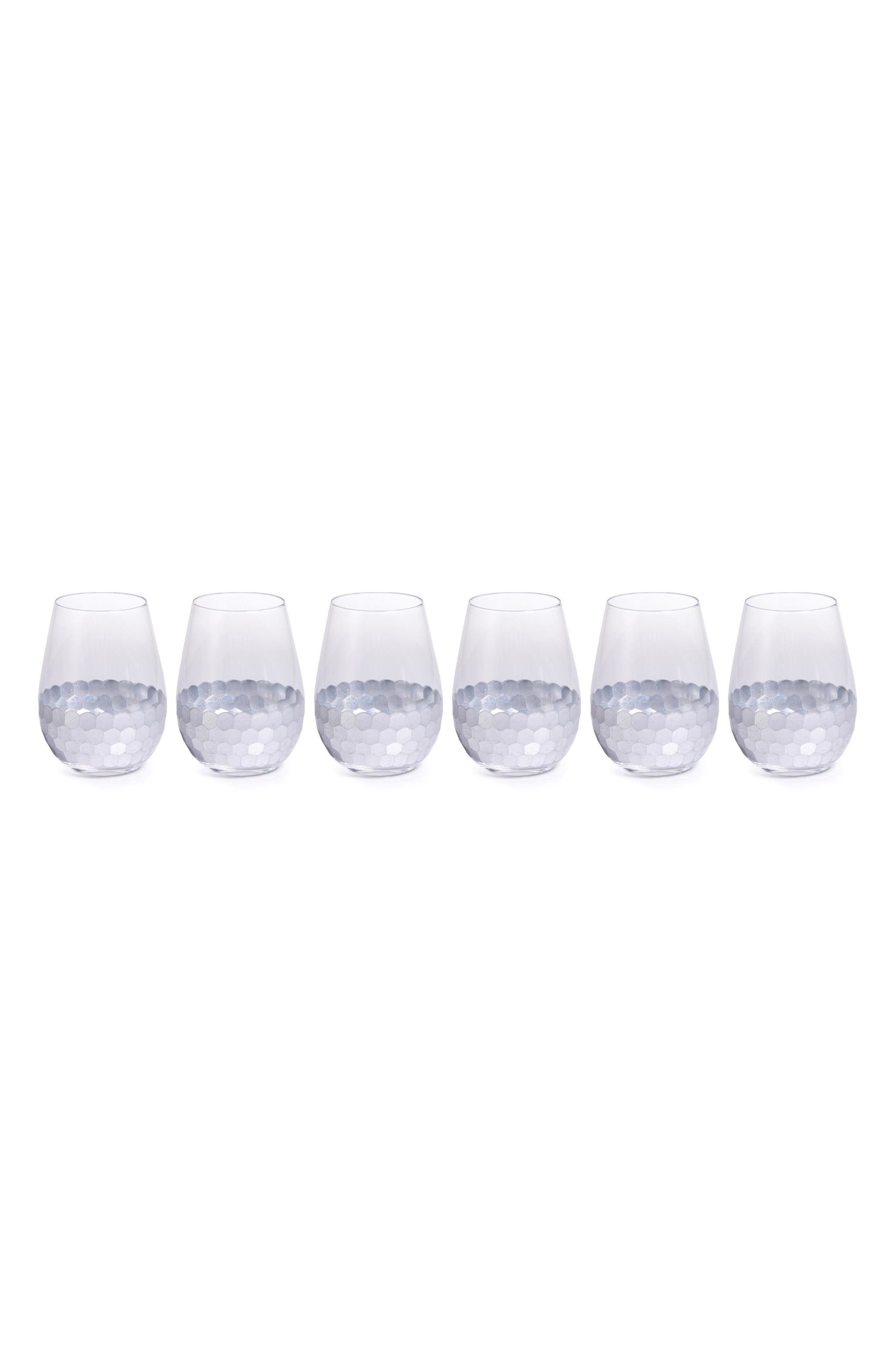 Vitorrio Set of 6 Stemless Wine Glasses,                             Main thumbnail 1, color,                             Silver
