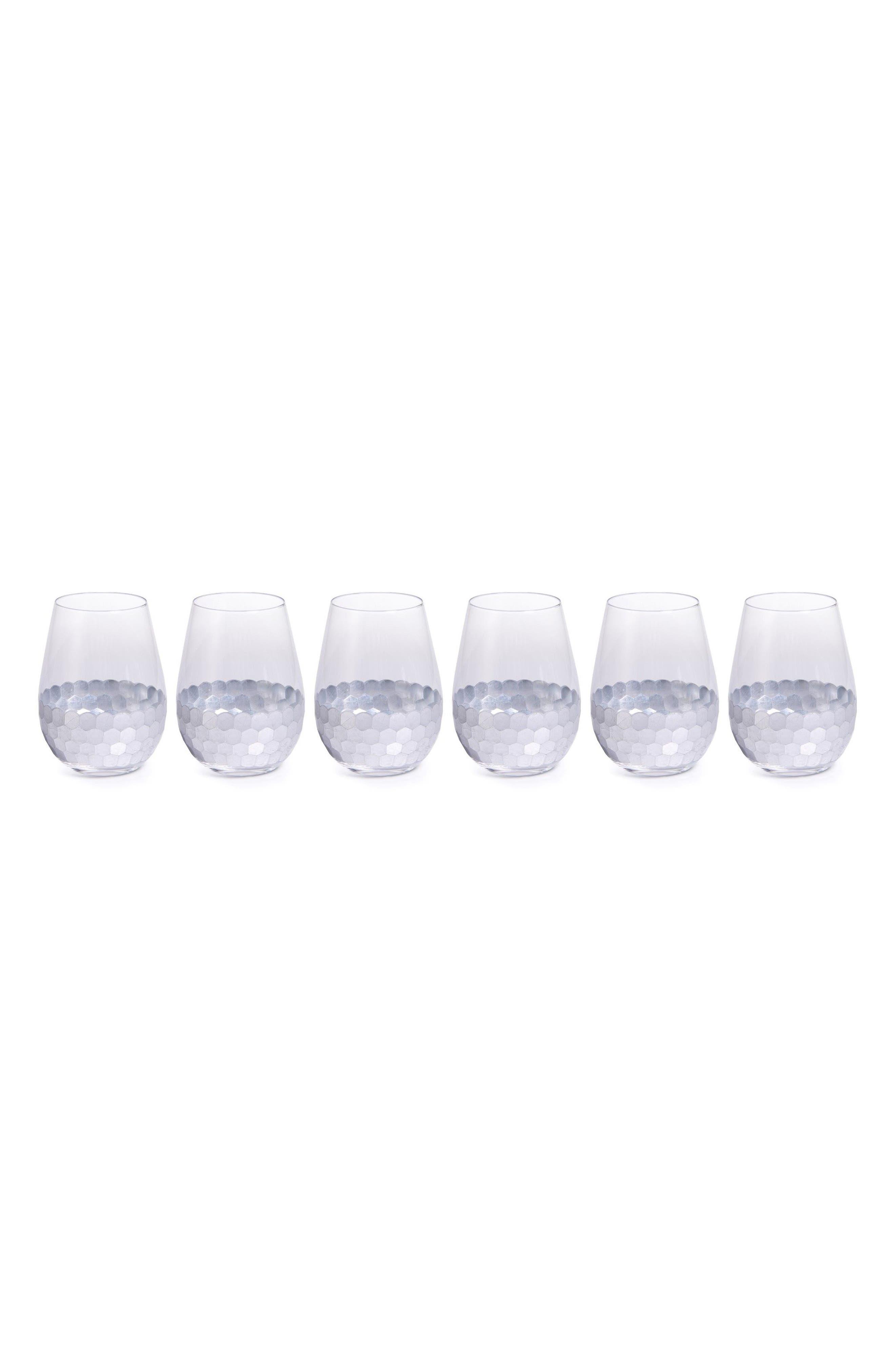 Vitorrio Set of 6 Stemless Wine Glasses,                         Main,                         color, Silver