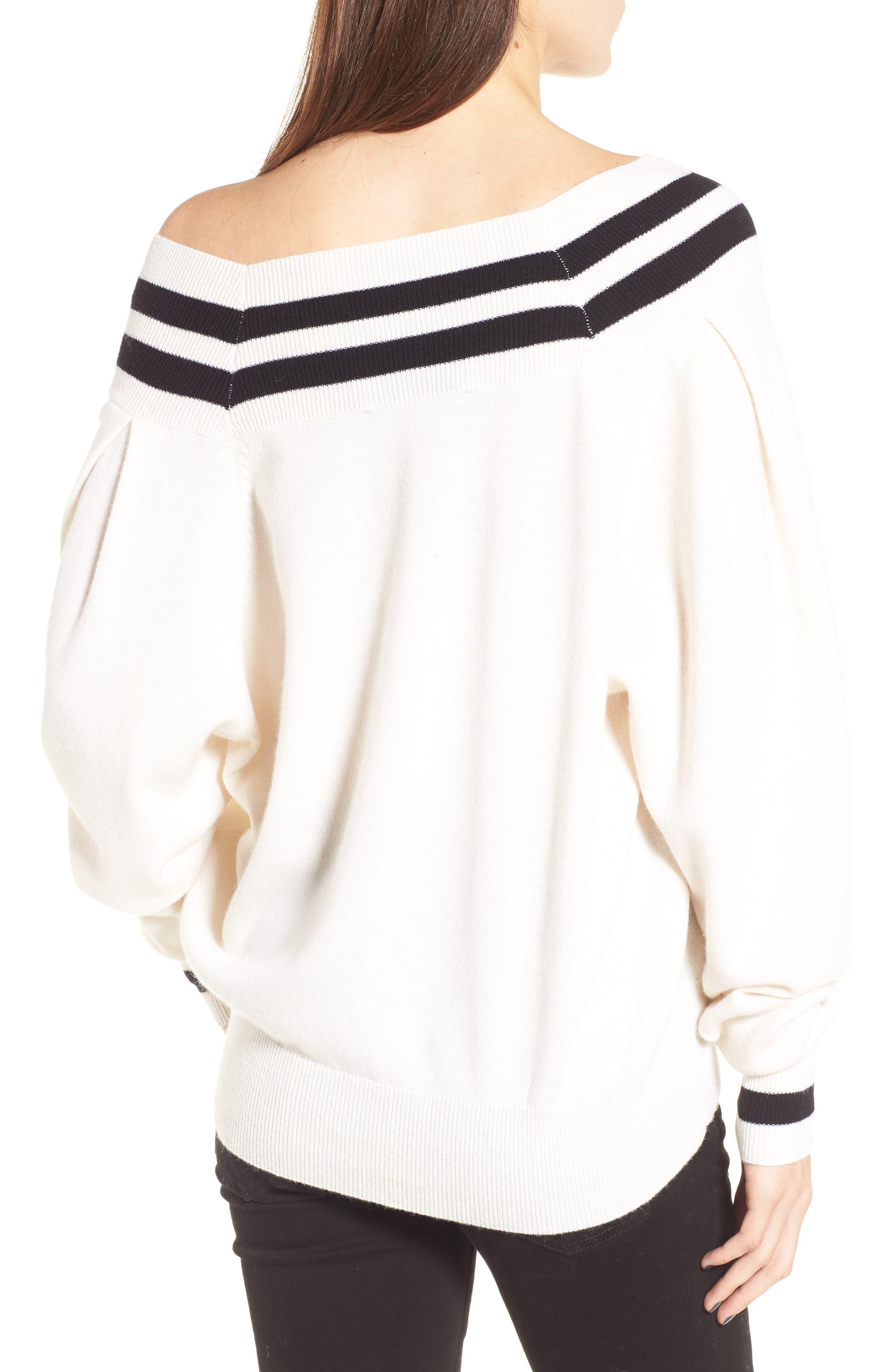 Stripe Sweater,                             Alternate thumbnail 2, color,                             White Multi