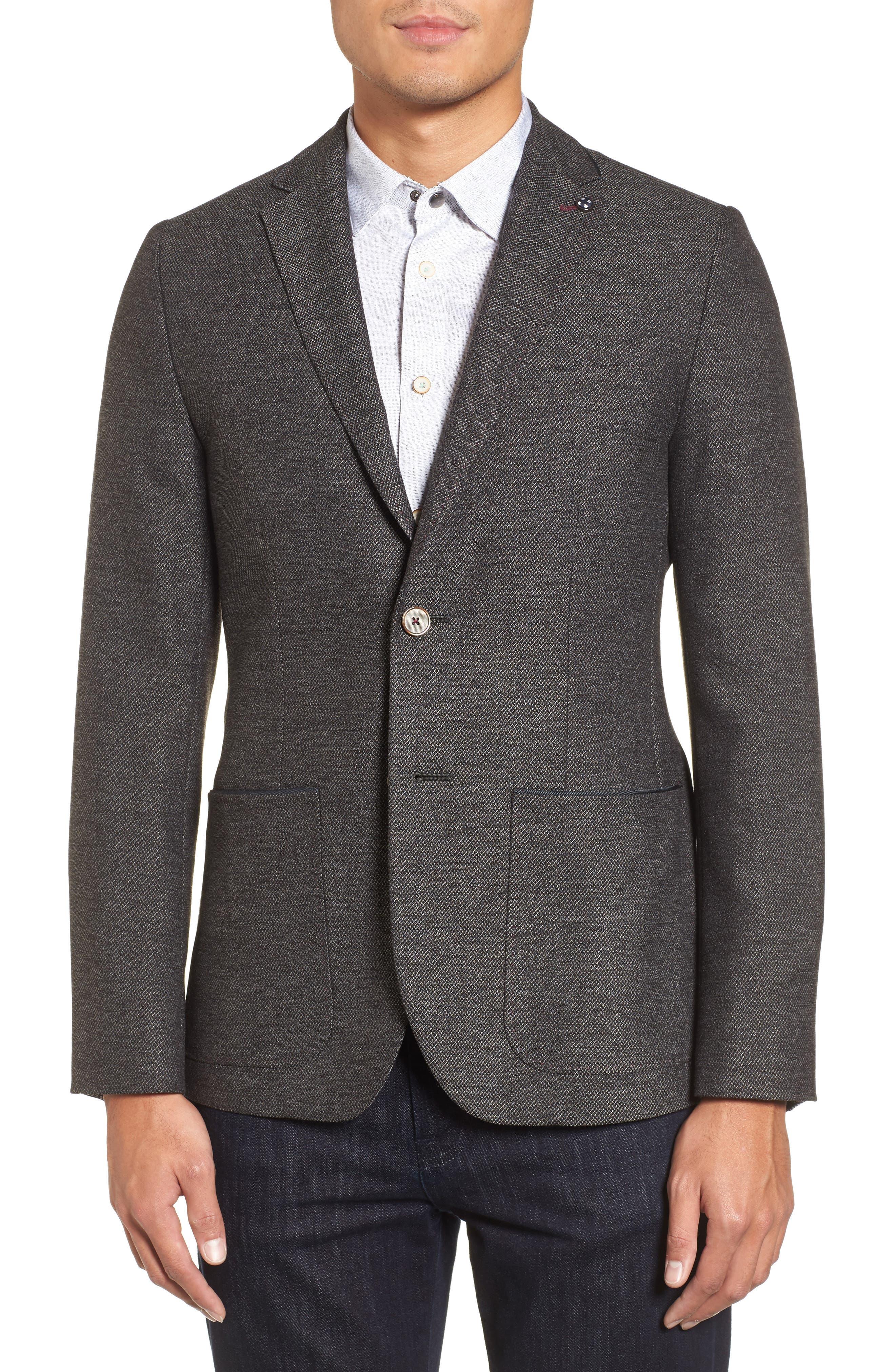 Port Slim Fit Jacket,                         Main,                         color, Charcoal