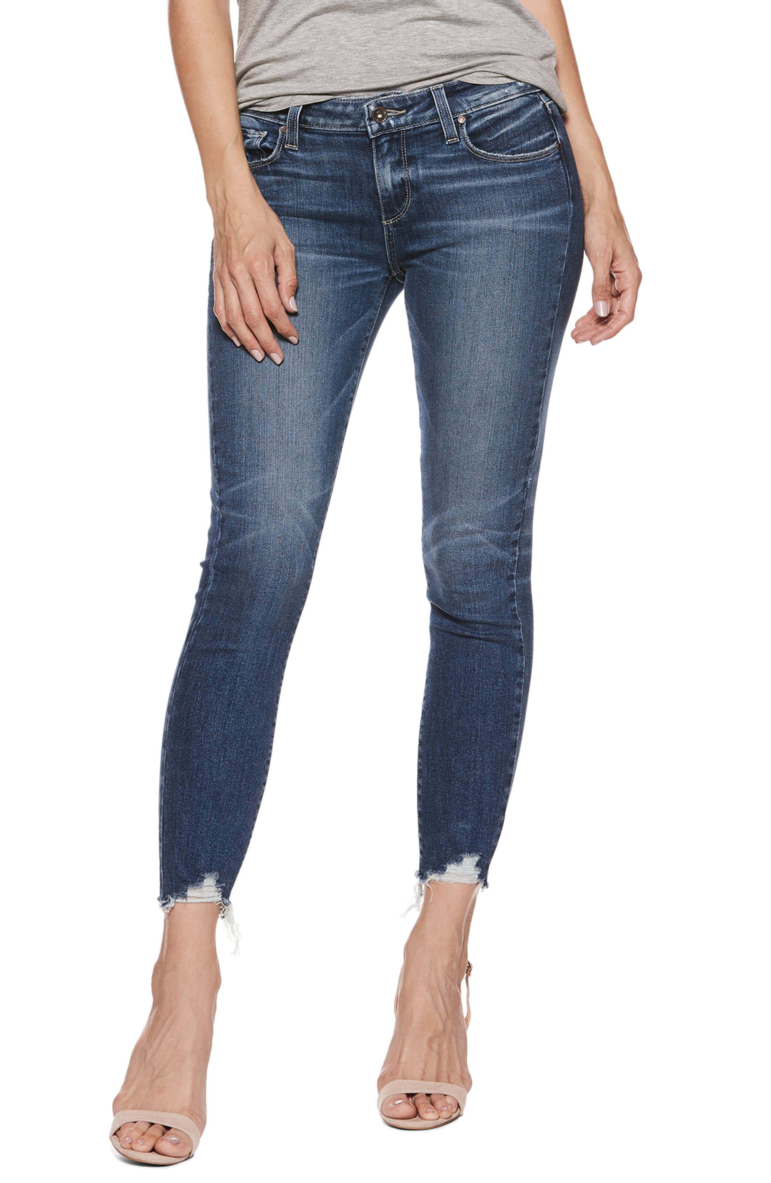 Transcend Vintage - Verdugo Ankle Skinny Jeans,                             Alternate thumbnail 3, color,                             Malibu Super Distressed