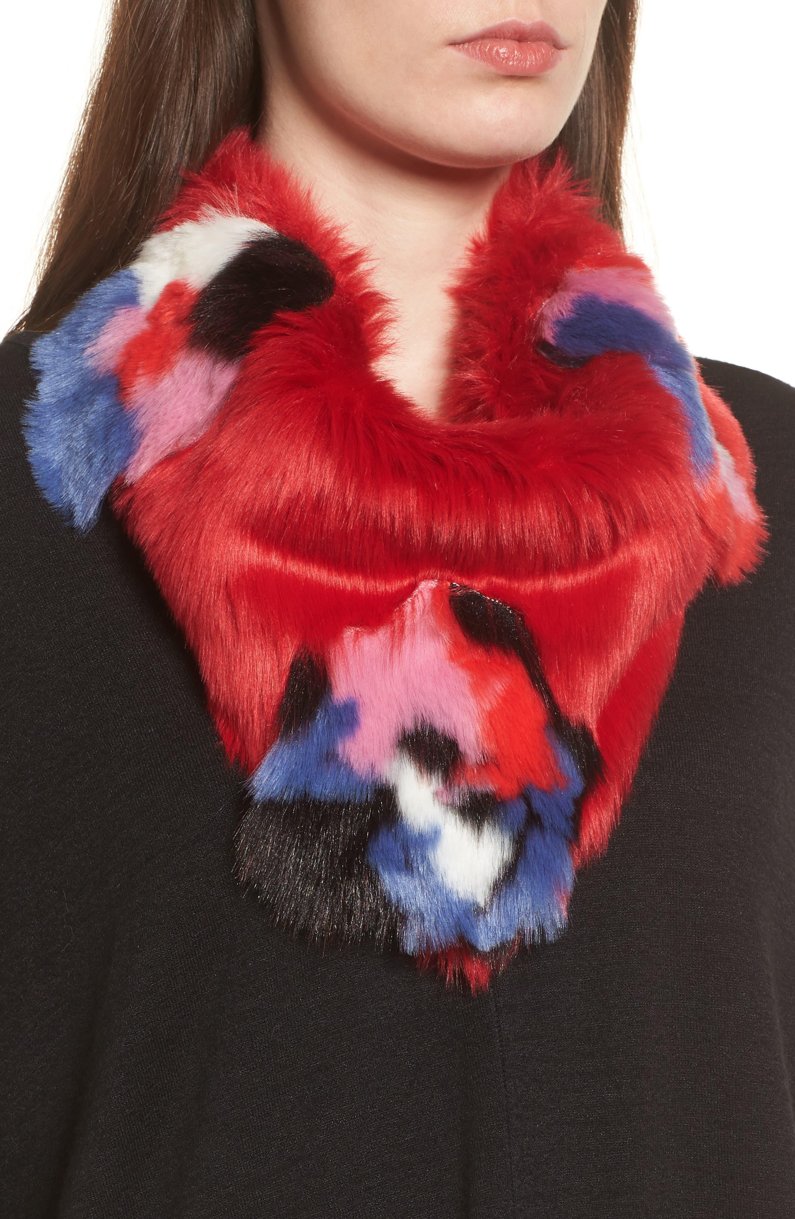Triangle Faux Fur Scarf,                             Main thumbnail 1, color,                             Floral Fur