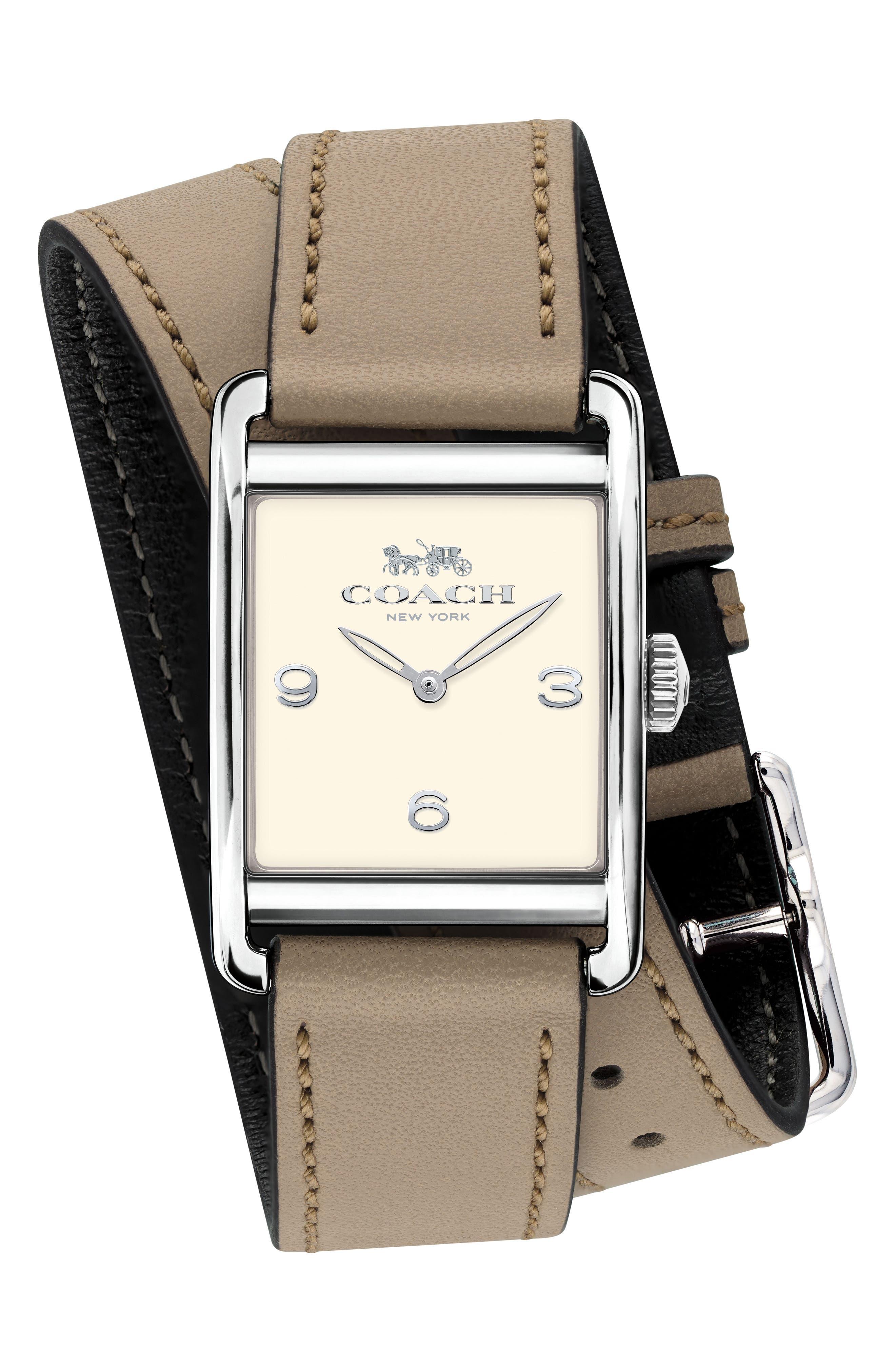 COACH Renwick Double Wrap Leather Strap Watch, 24mm x 35mm