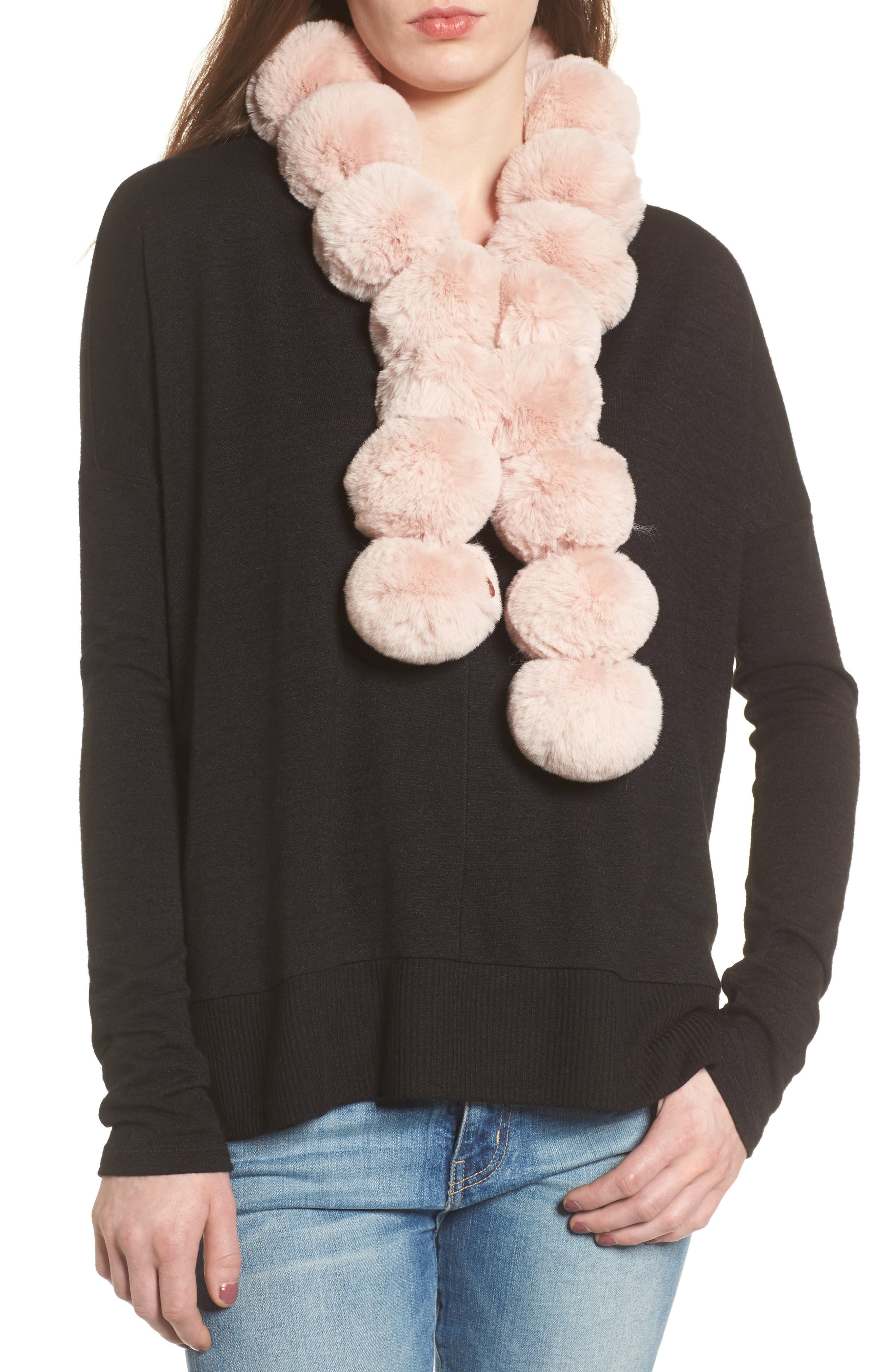 Faux Fur Pom Scarf,                         Main,                         color, Light Pink