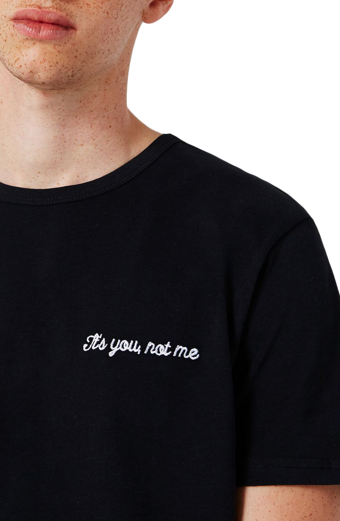 Not Me Embroidery T-Shirt,                             Alternate thumbnail 3, color,                             Black