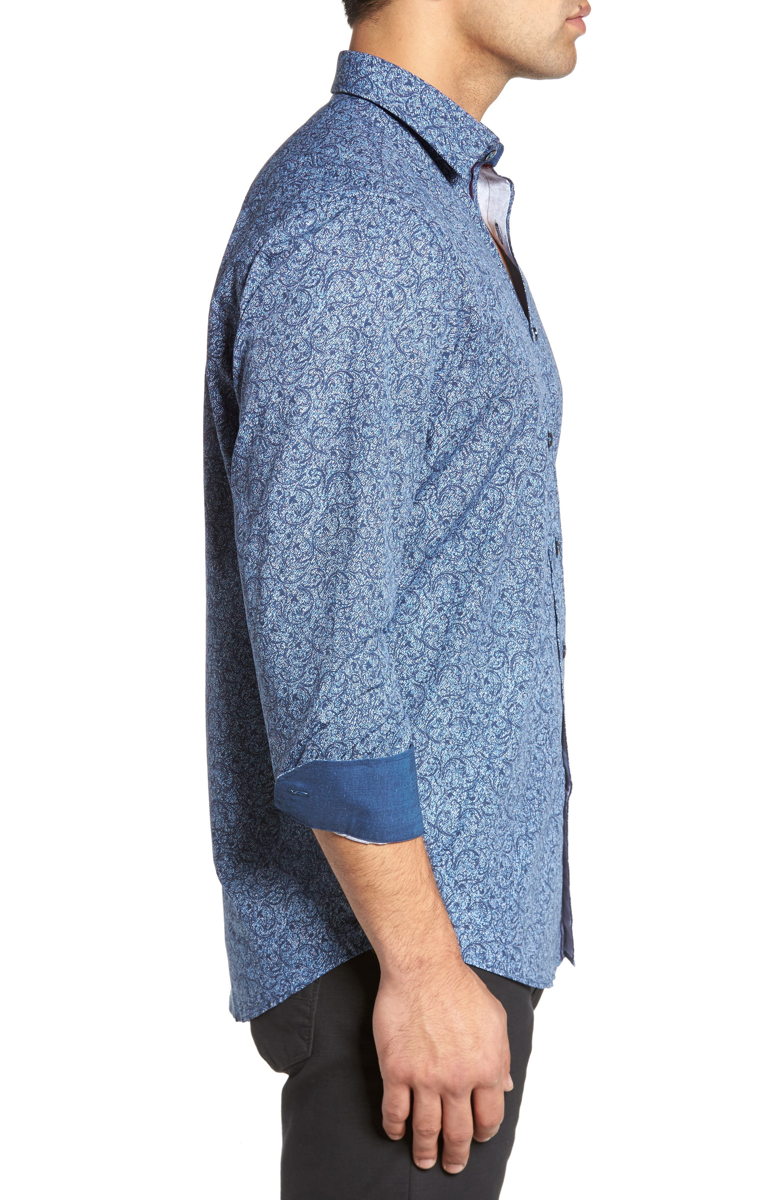Alternate Image 3  - Bugatchi Classic Fit Scroll Print Sport Shirt