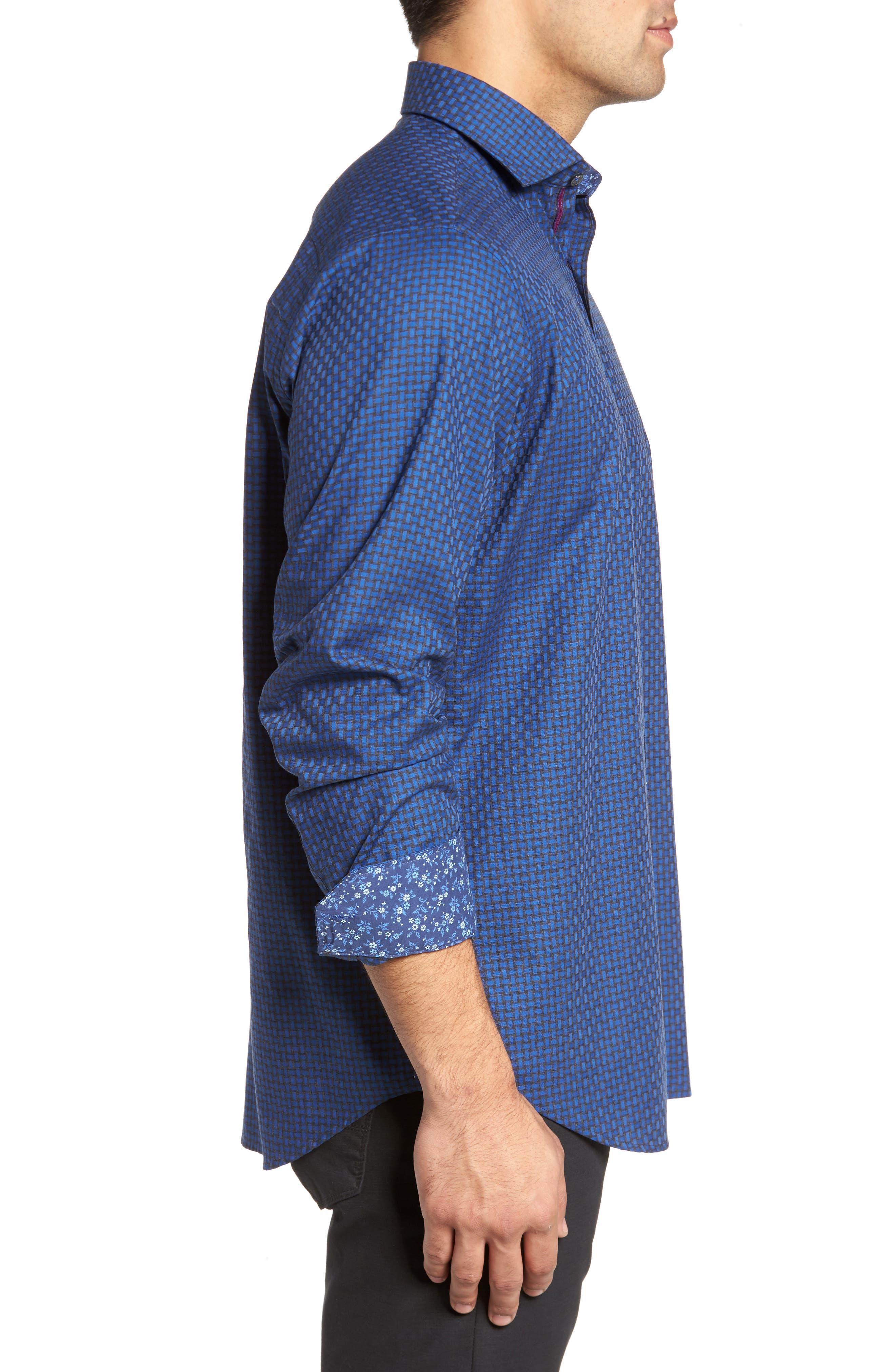 Classic Fit Basket Weave Jacquard Sport Shirt,                             Alternate thumbnail 3, color,                             Night Blue