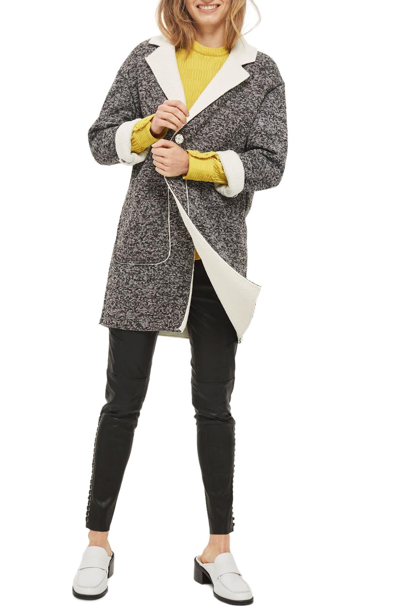 Topshop Salt & Pepper Knit Bonded Borg Coat
