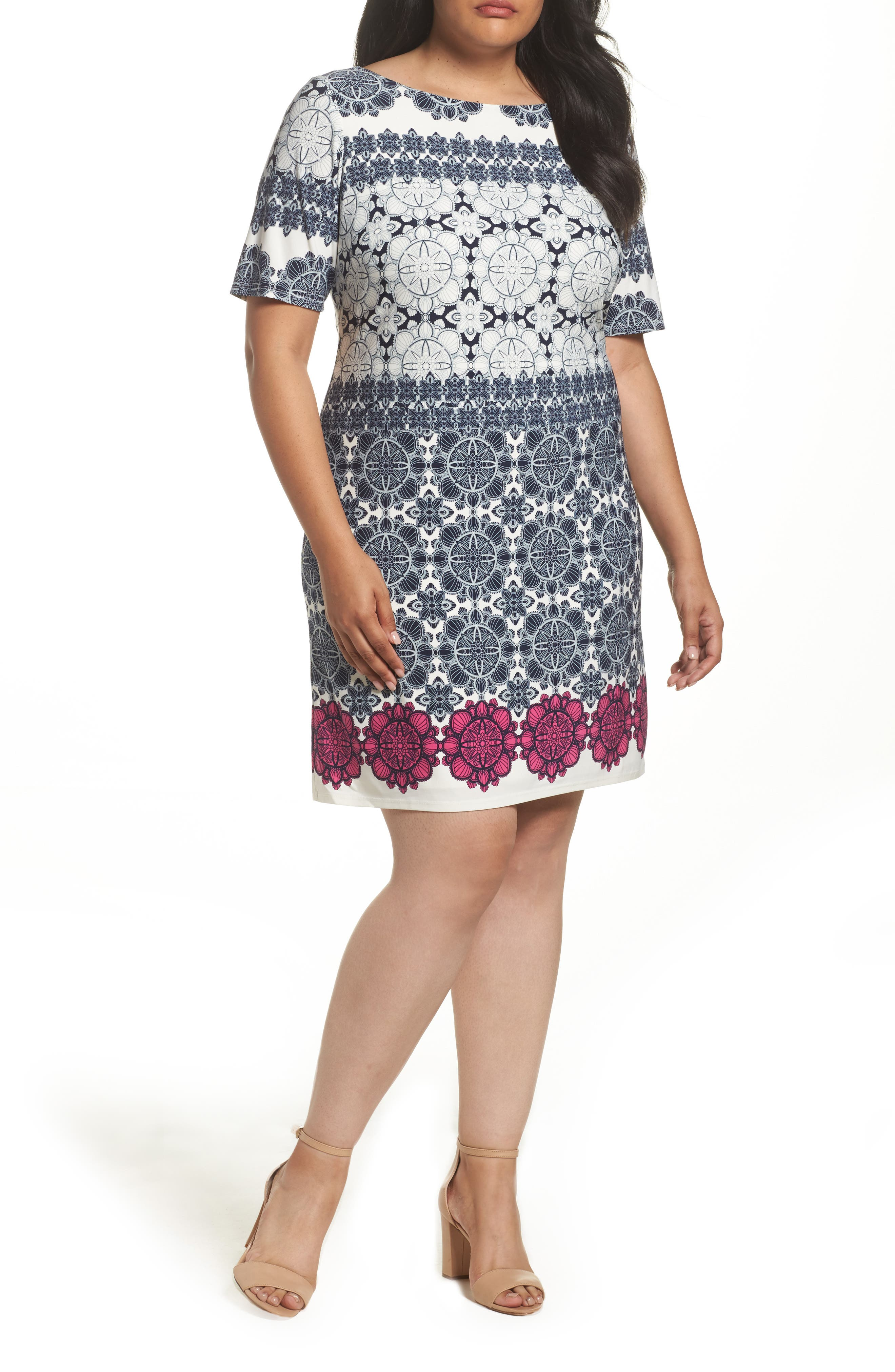 Main Image - Eliza J Tile Graphic Print Jersey Shift Dress (Plus Size)