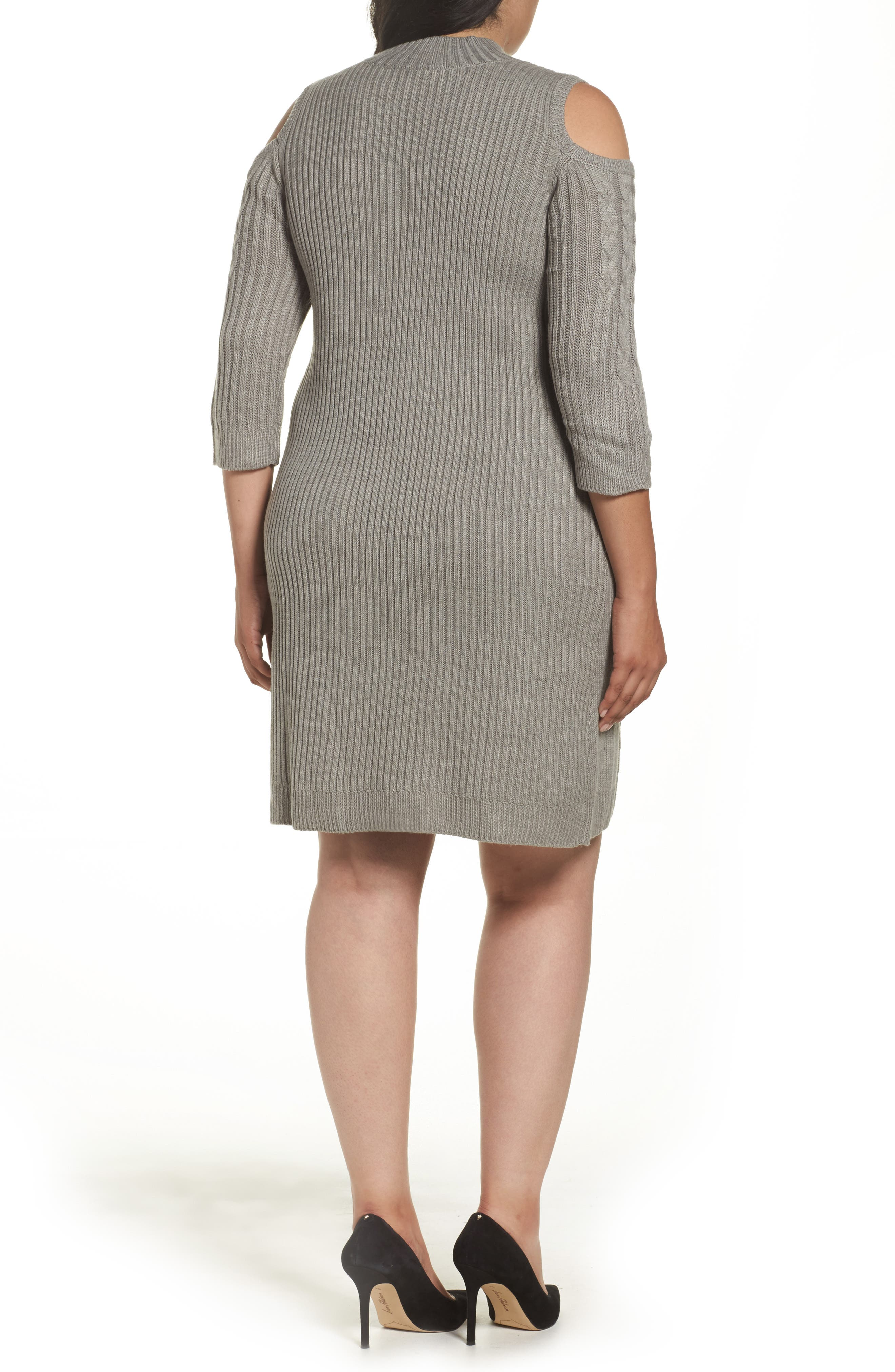 Cold Shoulder Cable Sweater Dress,                             Alternate thumbnail 2, color,                             Silver