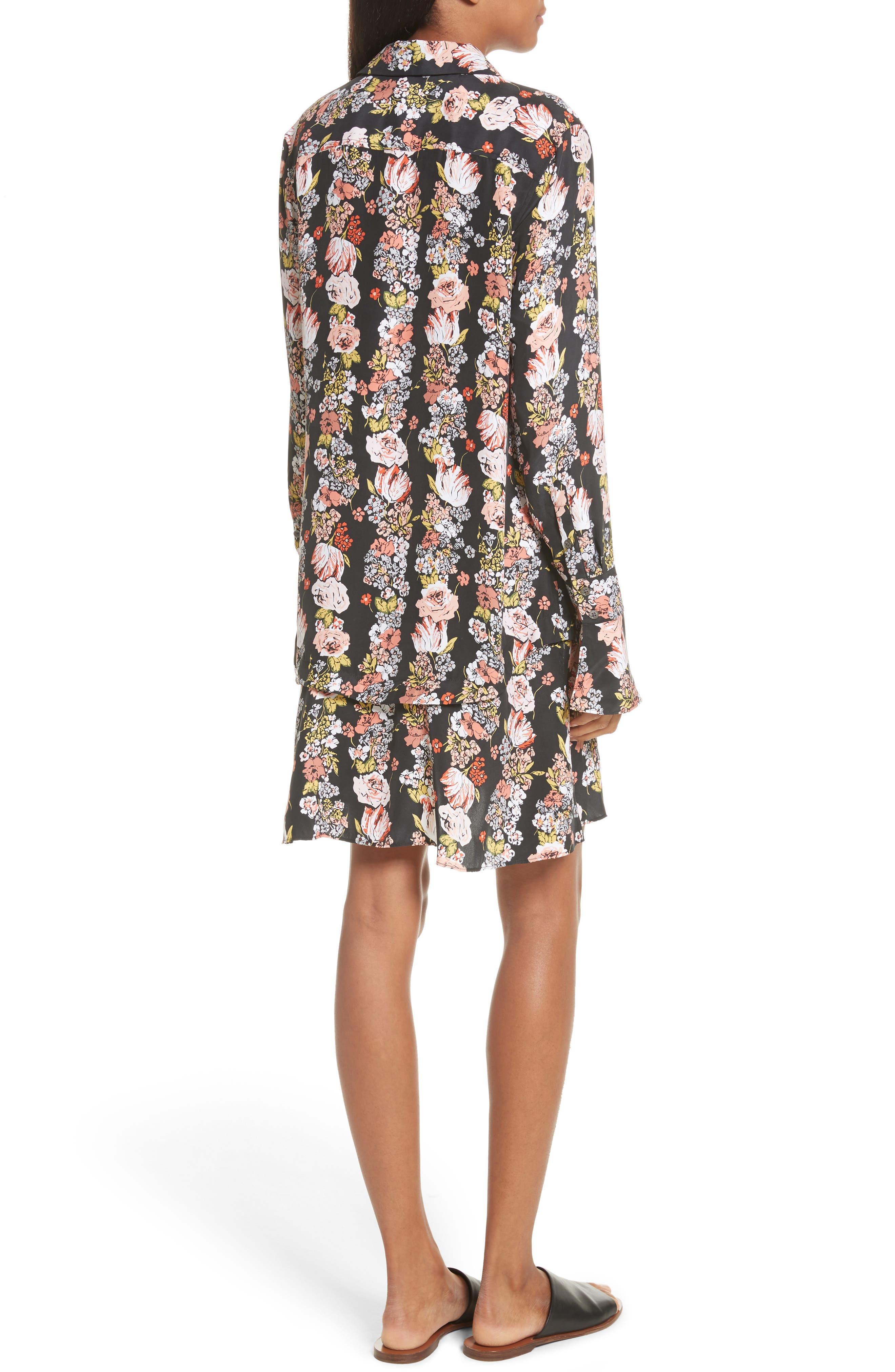 Daphne Silk Shirtdress,                             Alternate thumbnail 2, color,                             True Black Multi
