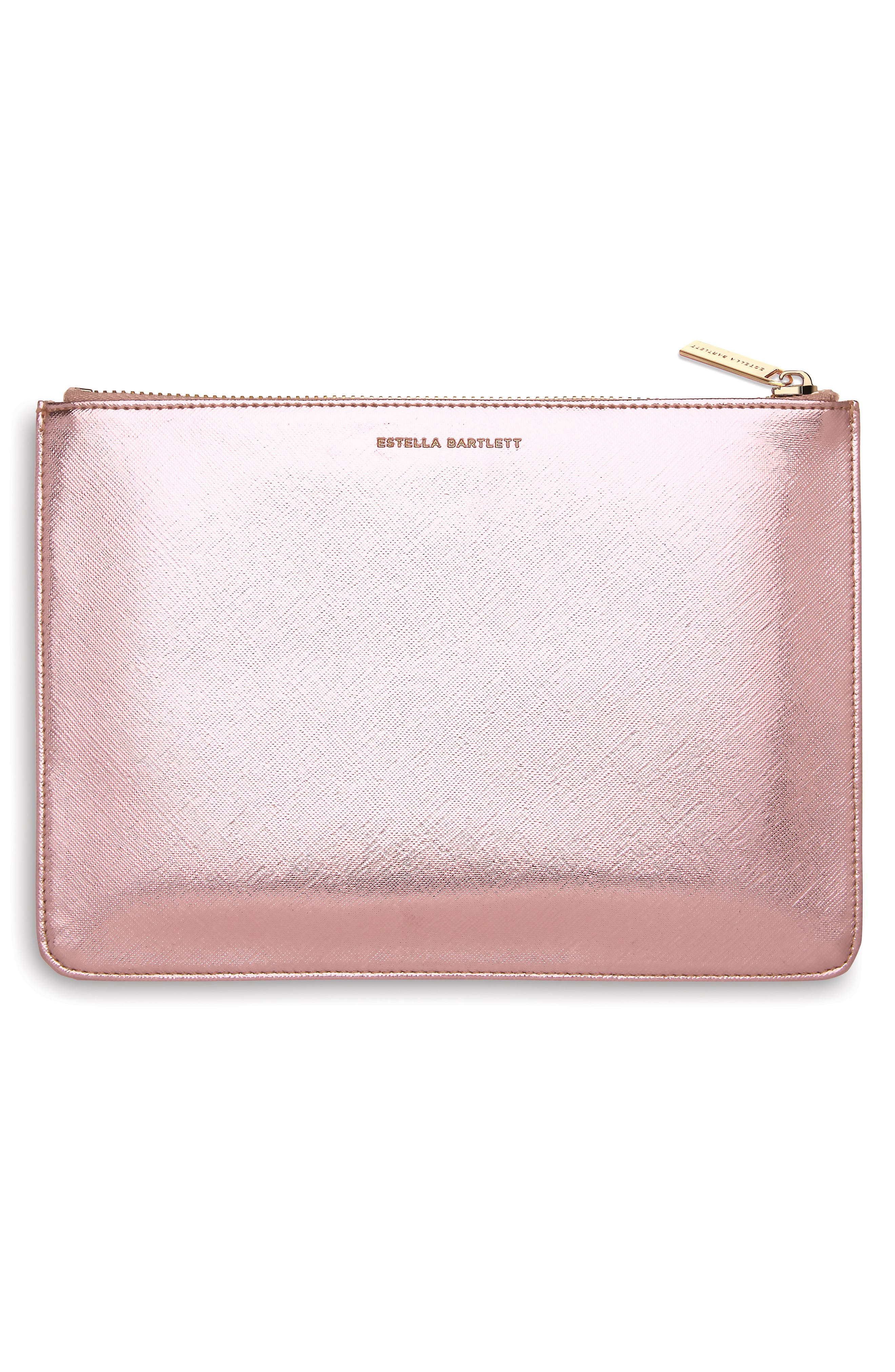 Just Imagine Faux Leather Pouch,                             Alternate thumbnail 2, color,                             Rose Gold