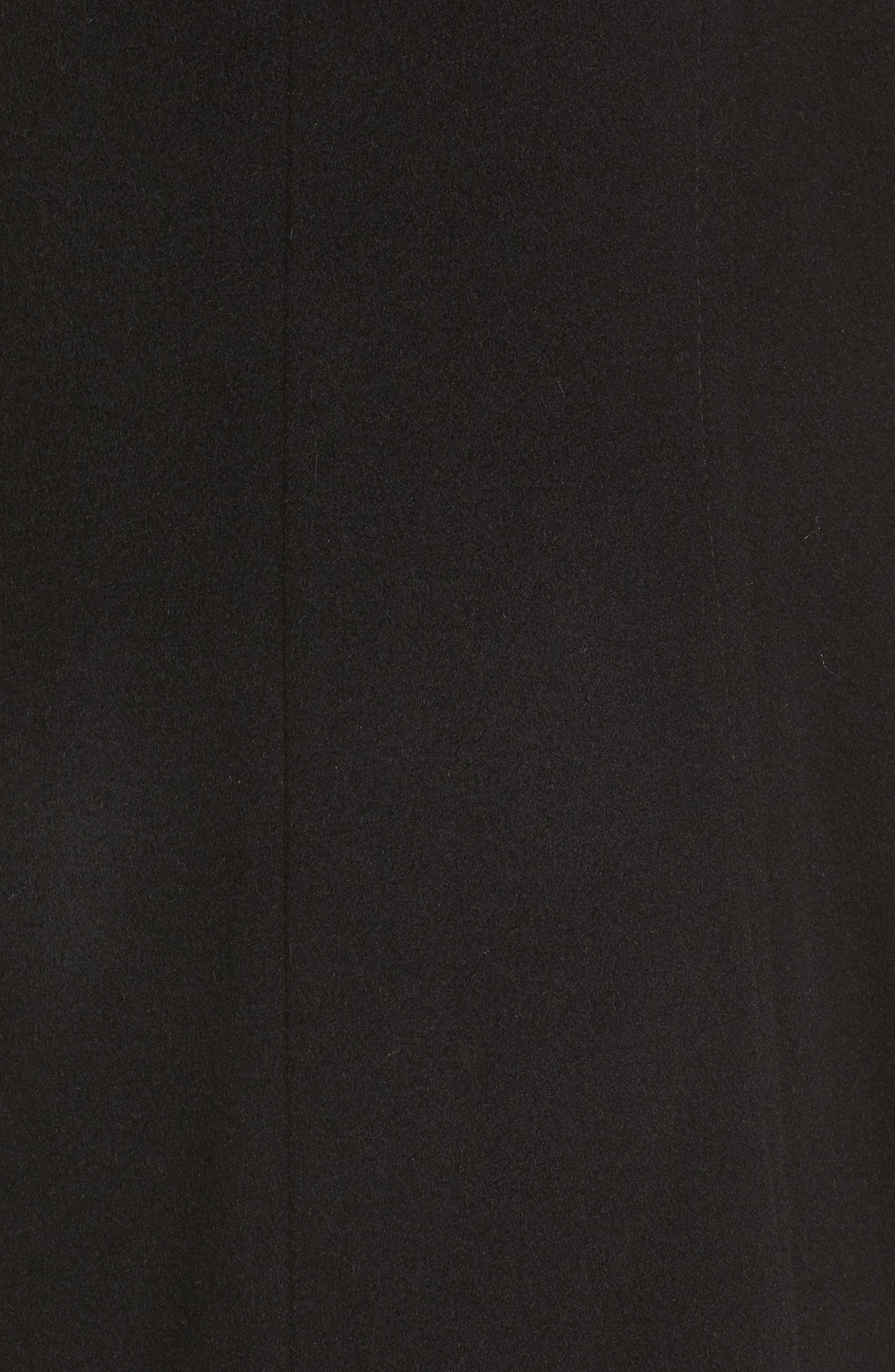 Hooded Wool Blend Coat with Genuine Fox Fur Trim,                             Alternate thumbnail 5, color,                             Black