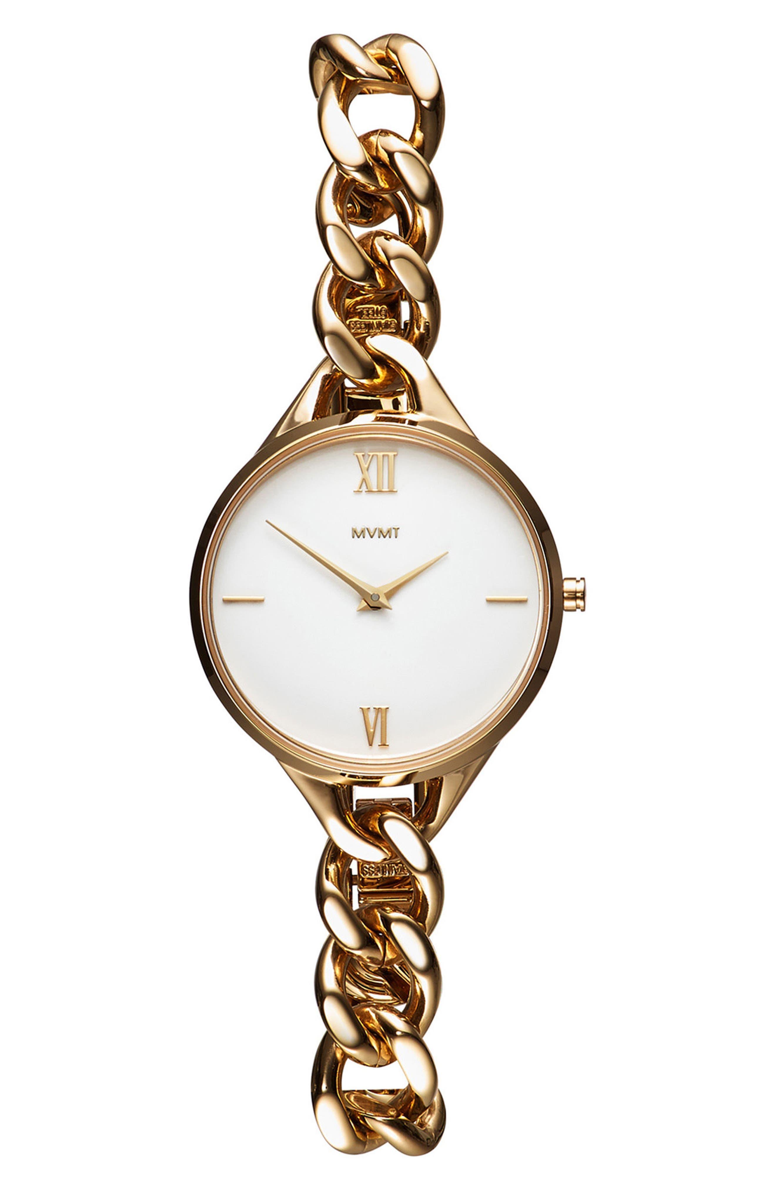Gala Chain Bracelet Watch, 32mm,                             Main thumbnail 1, color,                             Gold/ White/ Gold