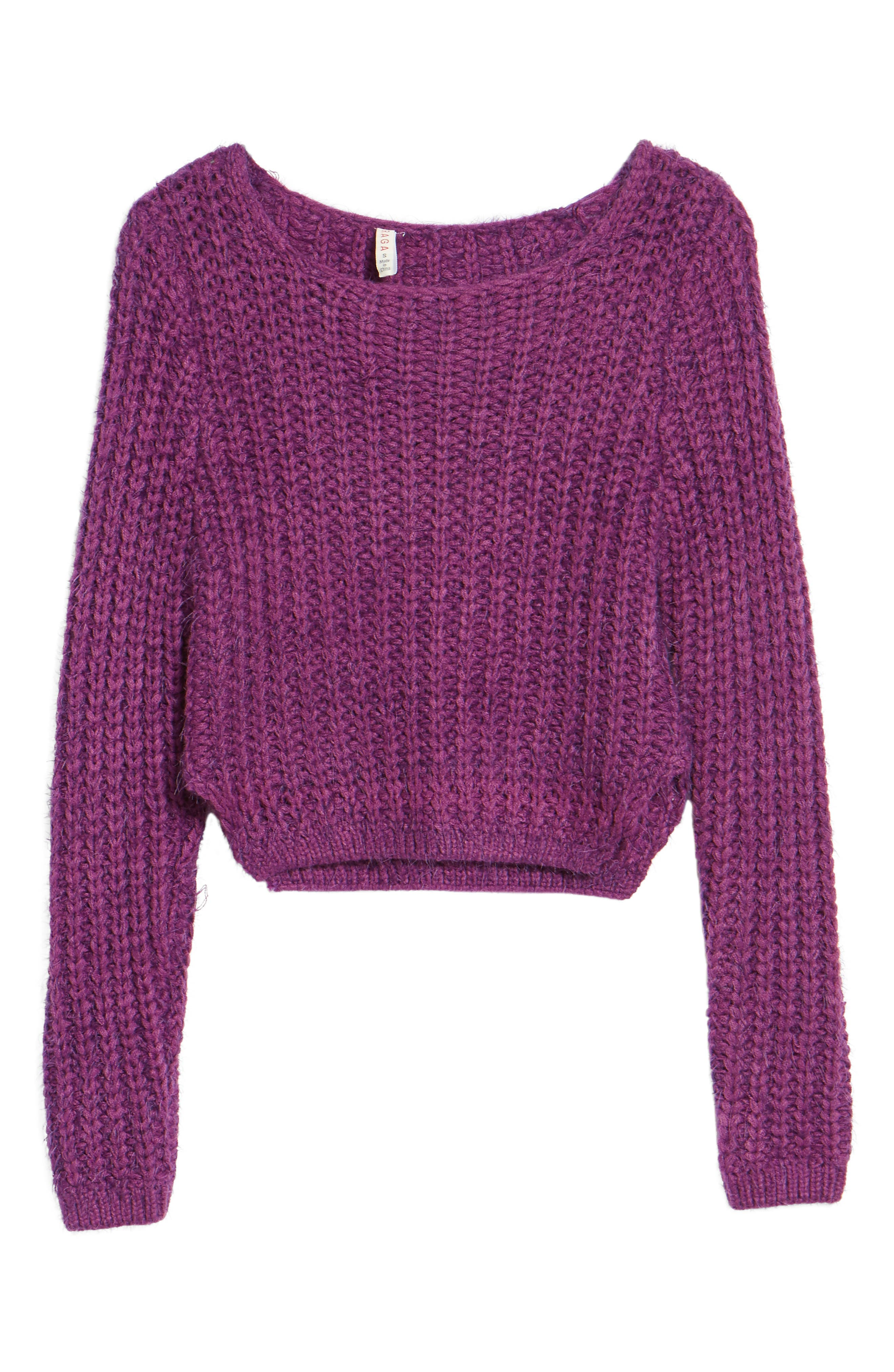 Bethany Crop Sweater,                             Alternate thumbnail 7, color,                             Purple
