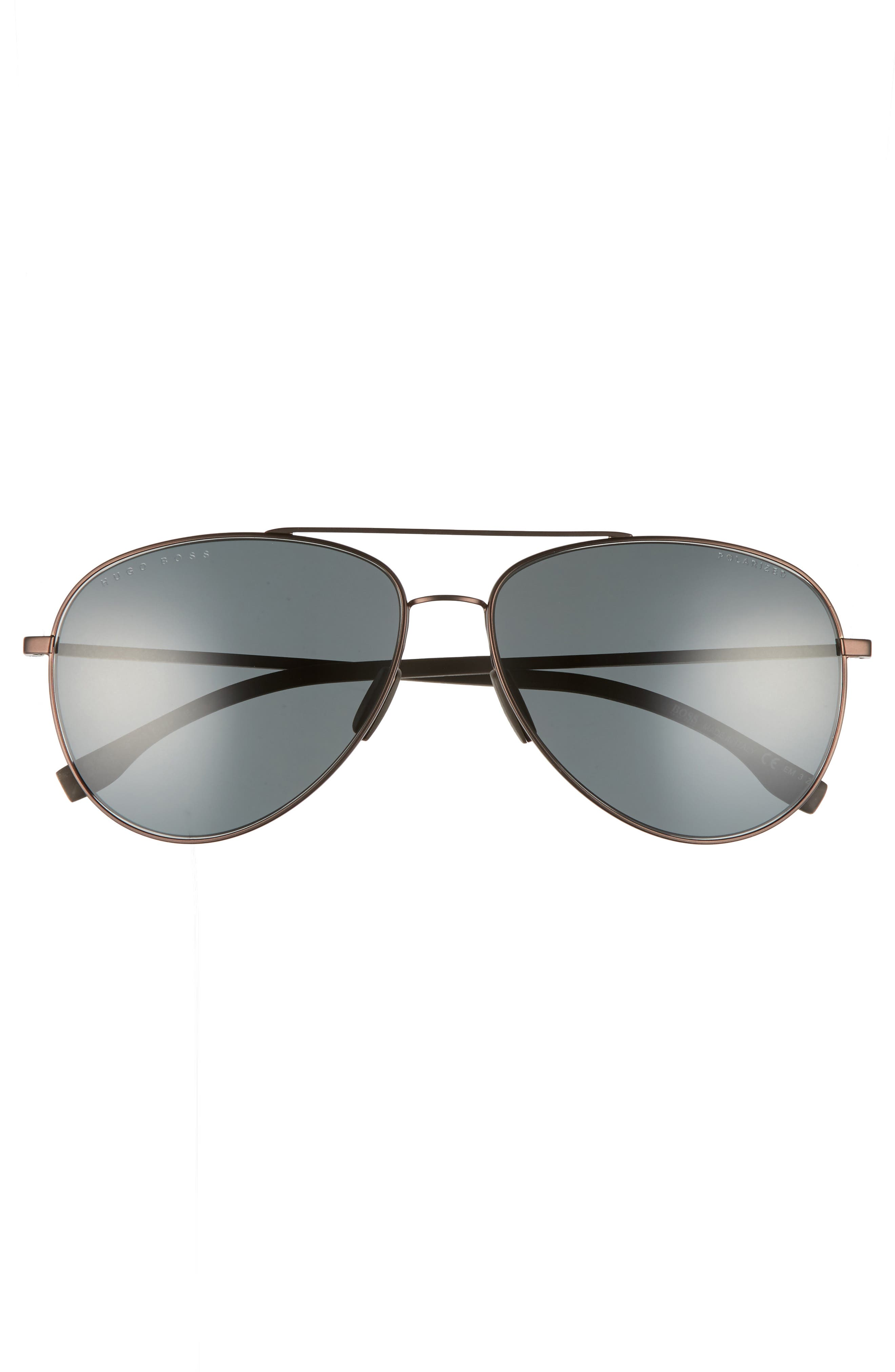59mm Aviator Sunglasses,                             Alternate thumbnail 2, color,                             Brown Rubber/ Brown