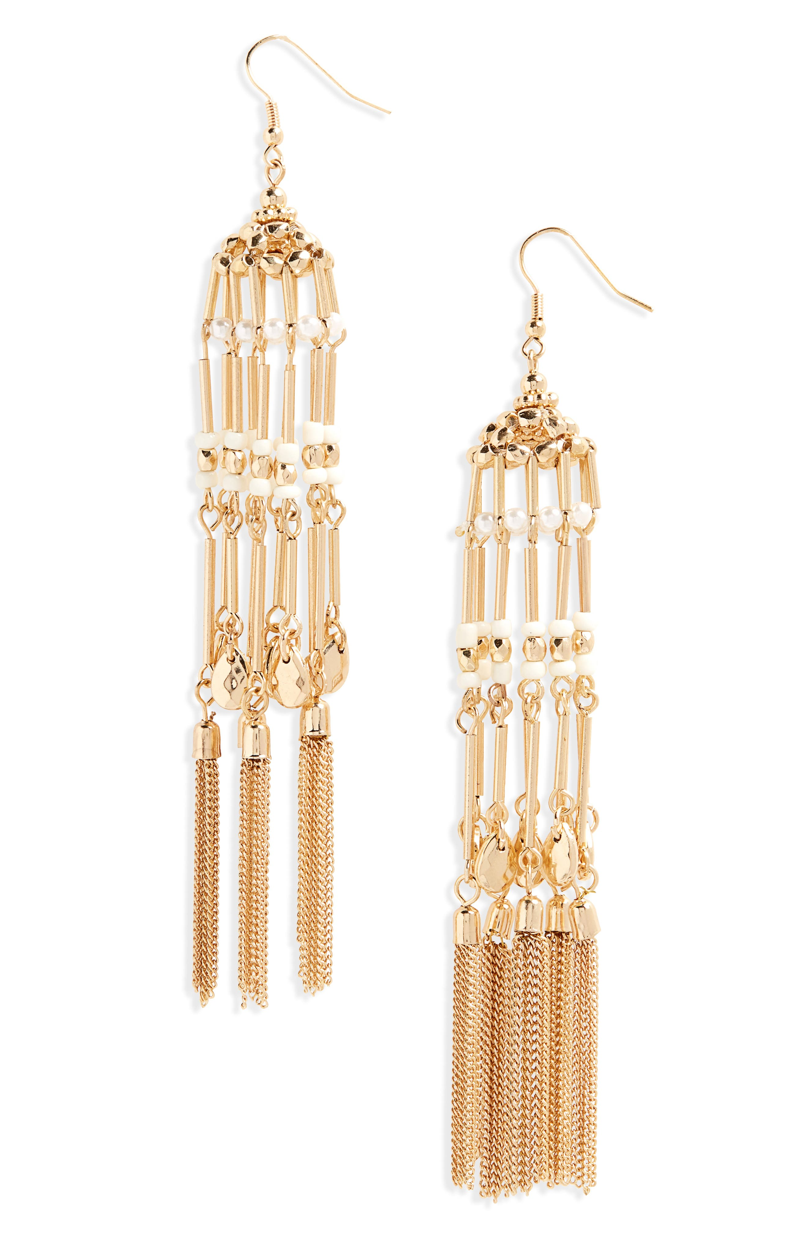 Bird Cage Drop Earrings,                         Main,                         color, Gold