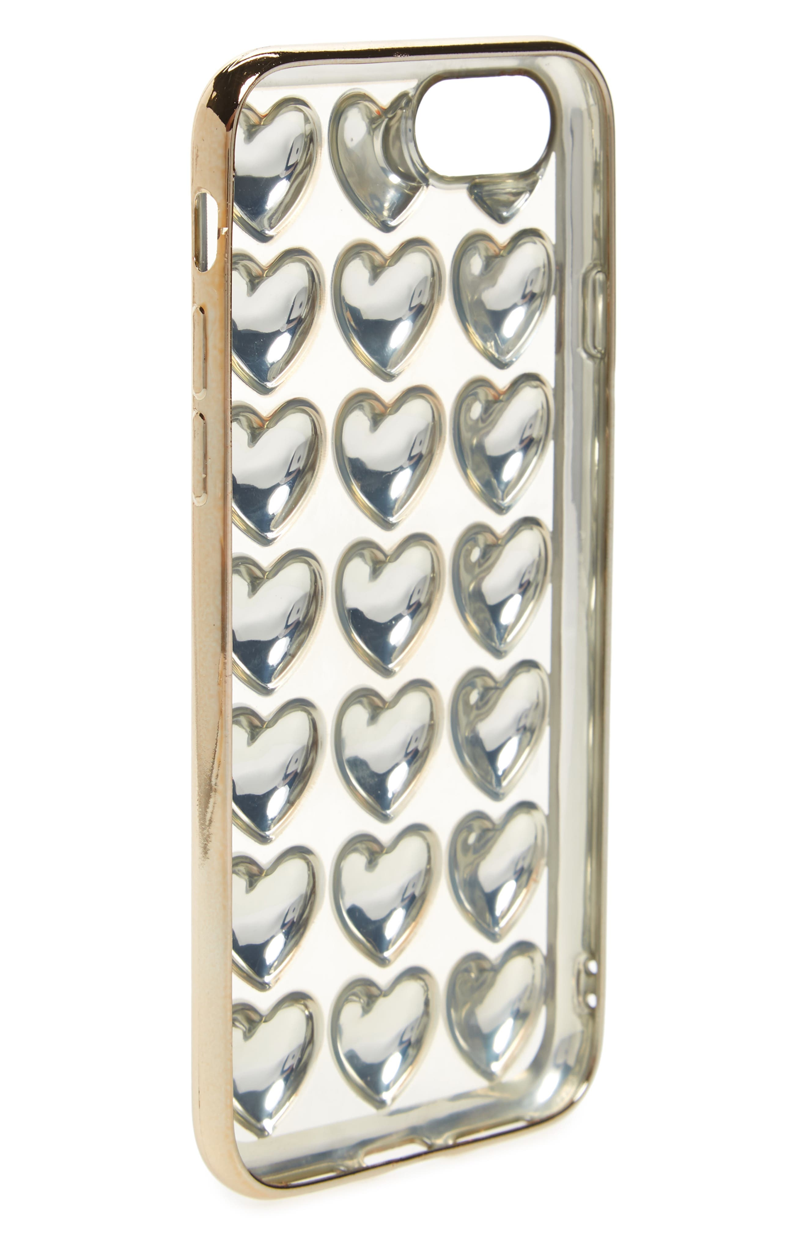 Bubble Heart iPhone 6/6s/7 Case,                             Alternate thumbnail 2, color,                             Gold