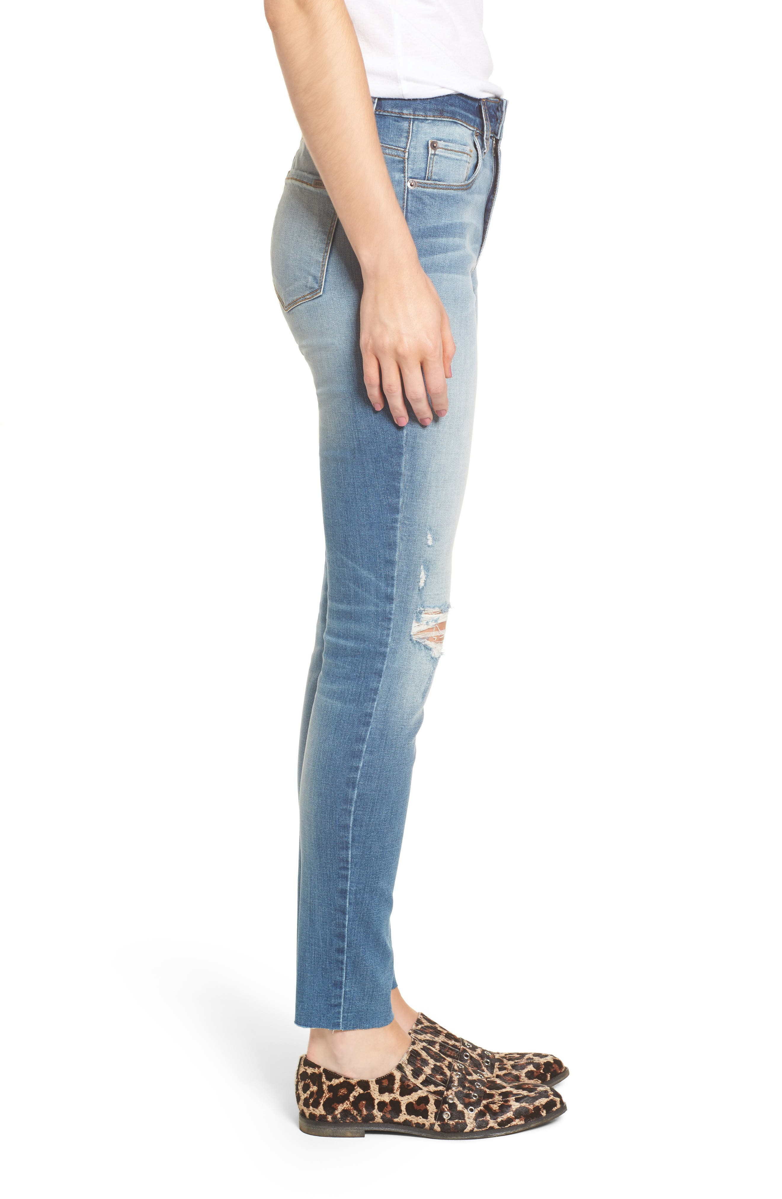 Ellie Ripped High Waist Skinny Jeans,                             Alternate thumbnail 3, color,                             Hill Grove